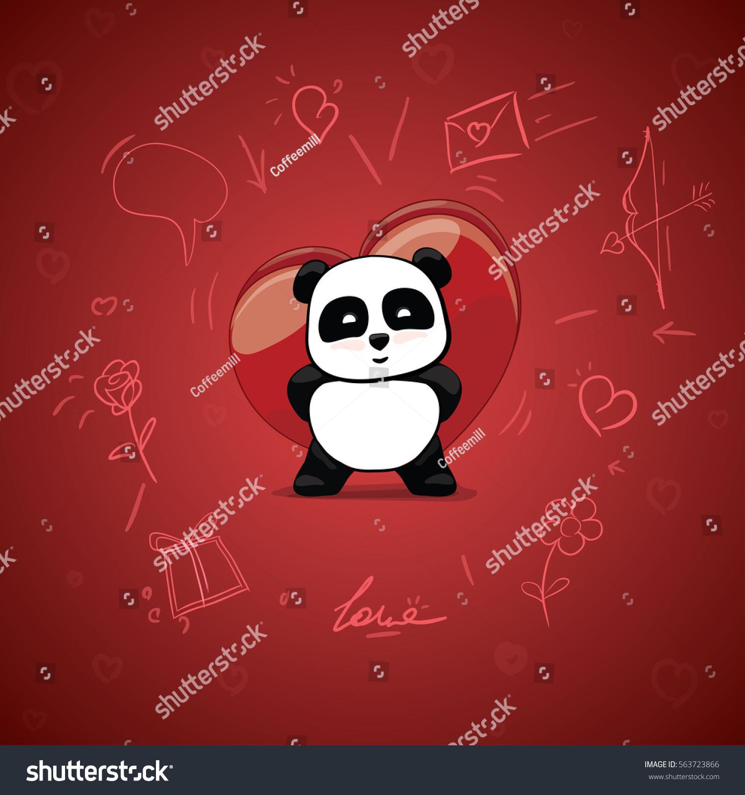 Little Cute Panda Hidden Gift. Box Of Candies. Heart For Valentineu0027s ...