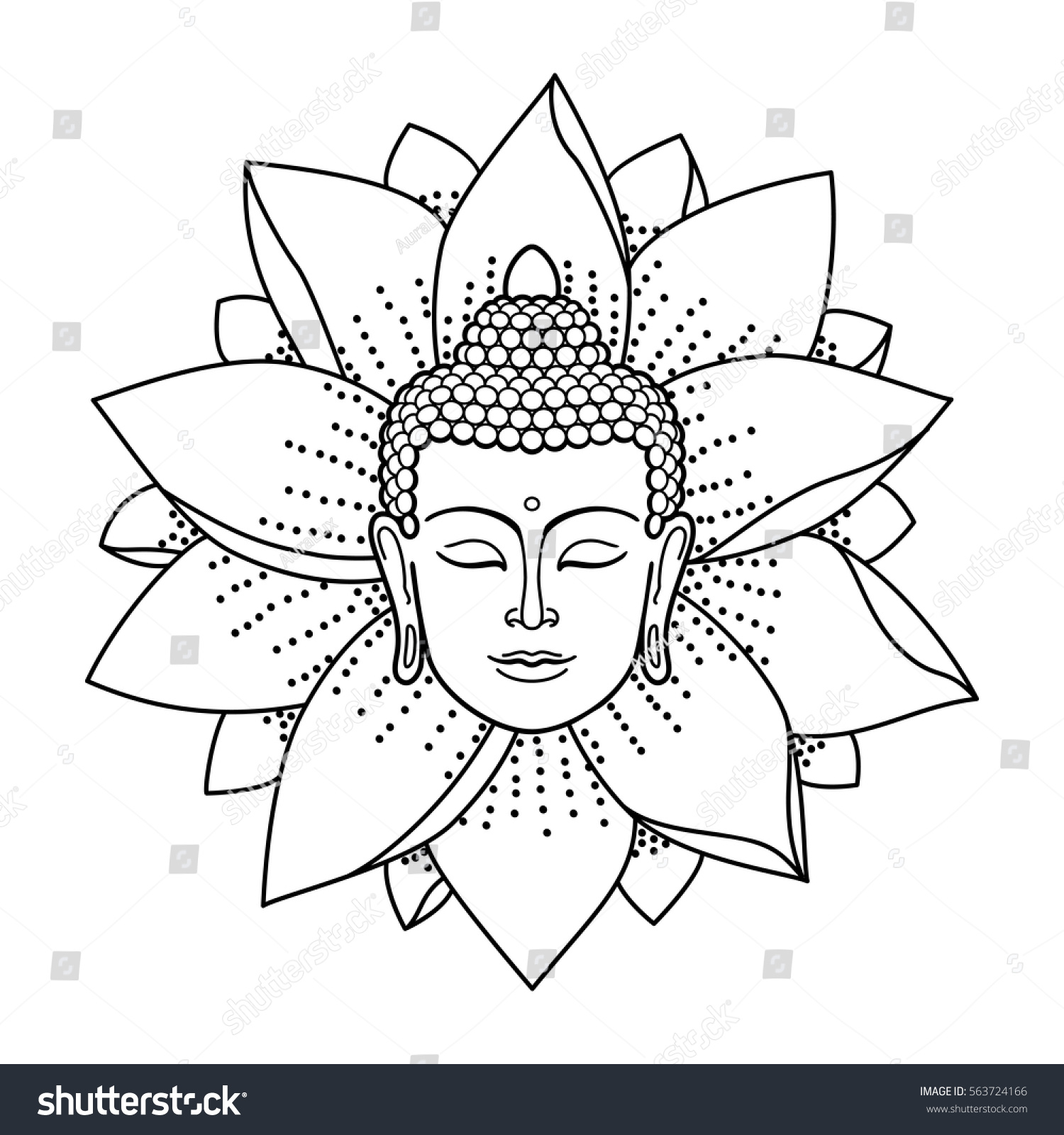 buddha head lotus isolated on white stock vector 563724166