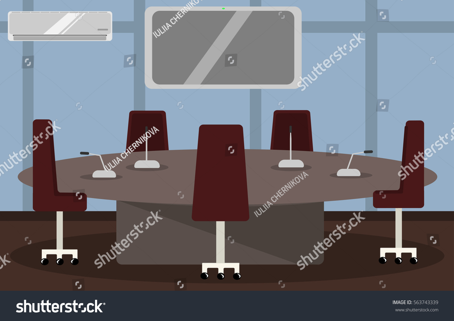 Illustration Modern Comfortable Office Conference Room Stock - Conference room table and chairs clip art