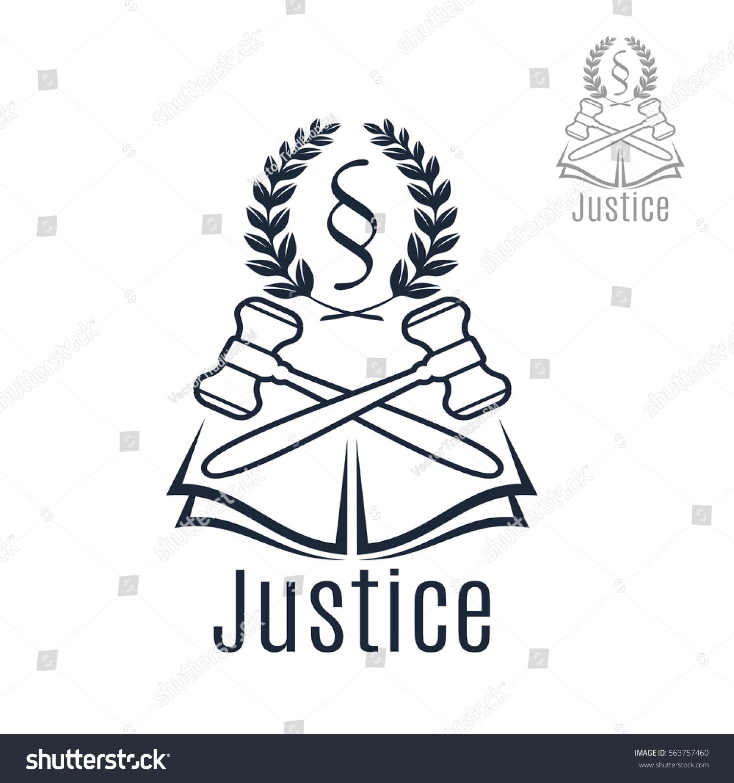 Law Icon Judge Gavel Heraldic Laurel Stock Vector Royalty Free