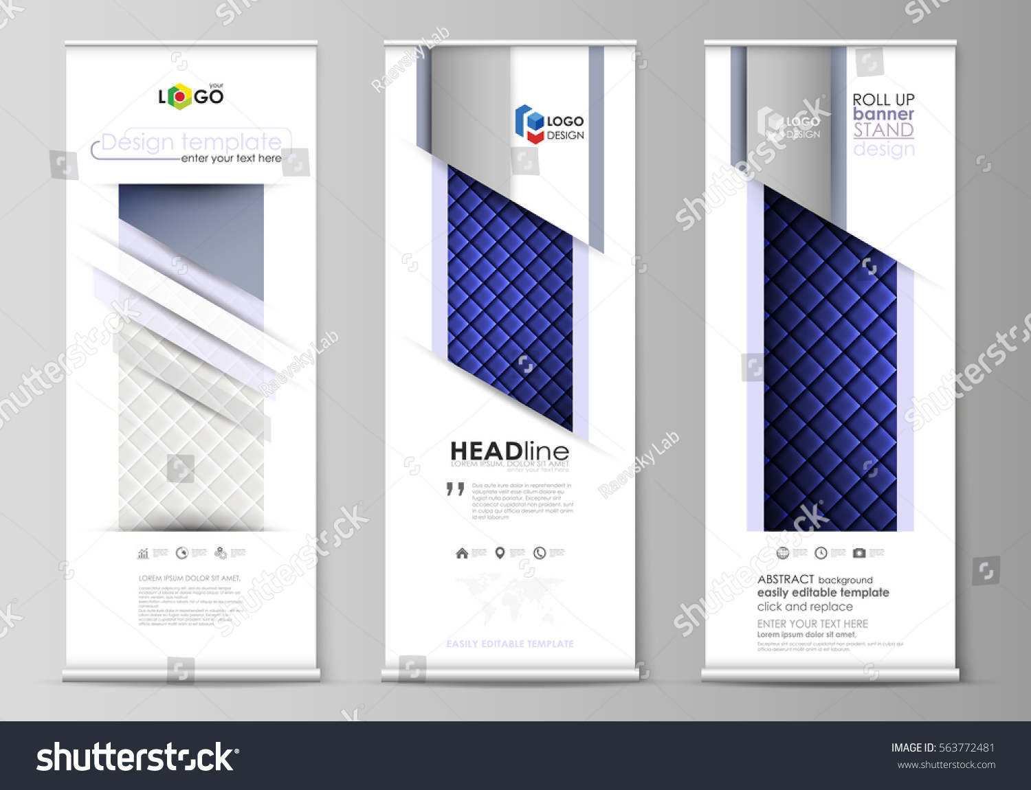roll banner stands flat design templates stock vector 563772481