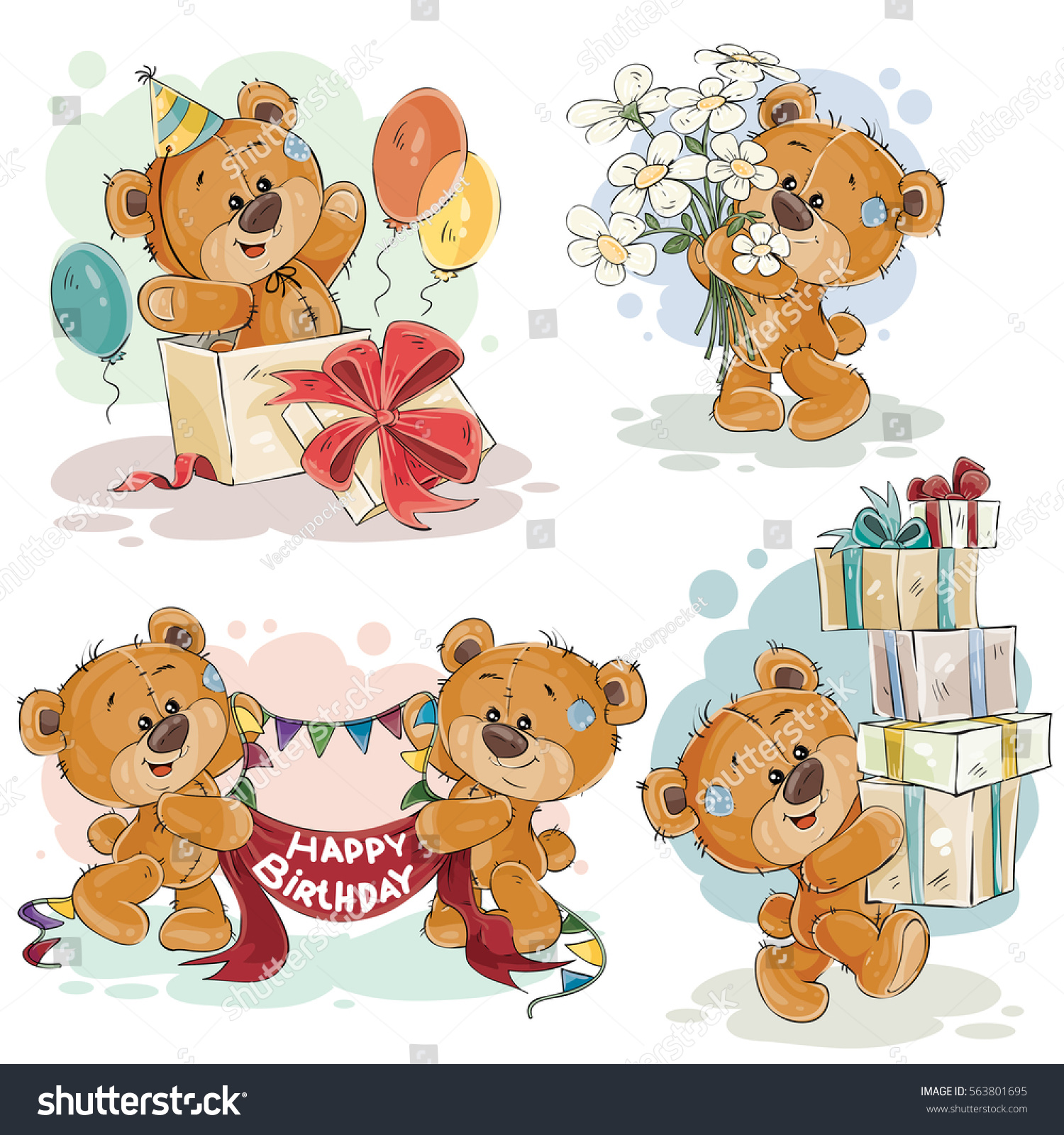 set vector clip art illustrations teddy stock vector 563801695