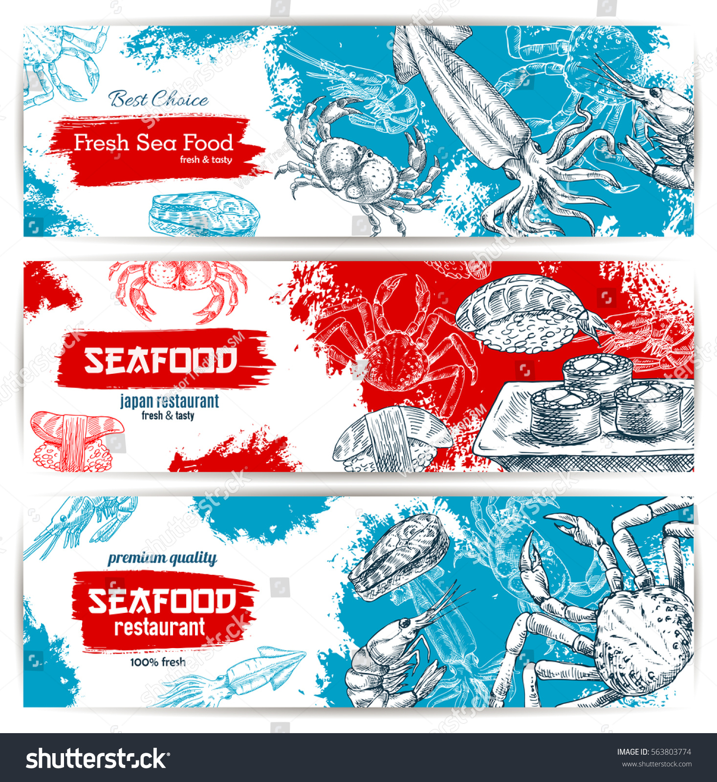 Seafood banners fish food sushi rolls stock vector for Blue fish sushi menu