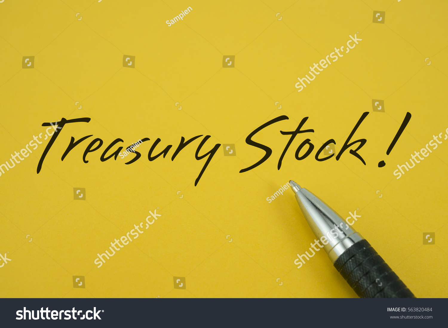 Treasury Stock Note Pen On Yellow Stock Illustration 563820484