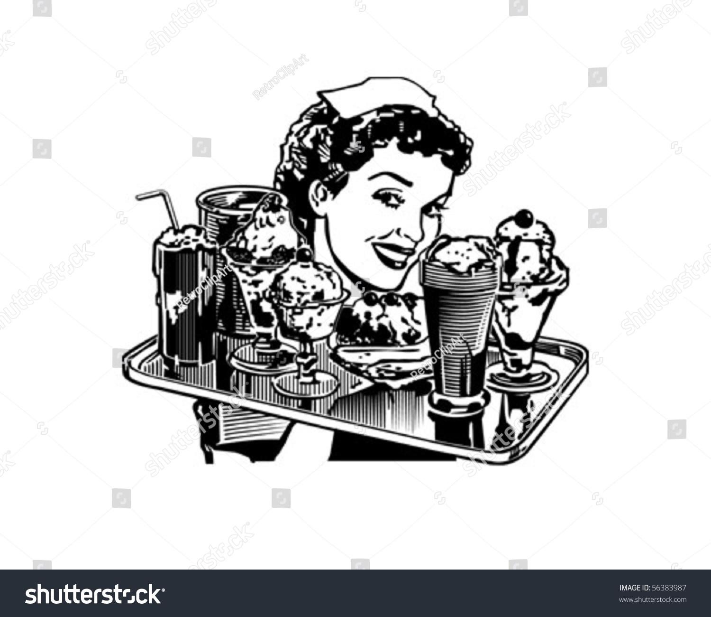 Retro diner waitress retro clip art stock vector for Diner artwork