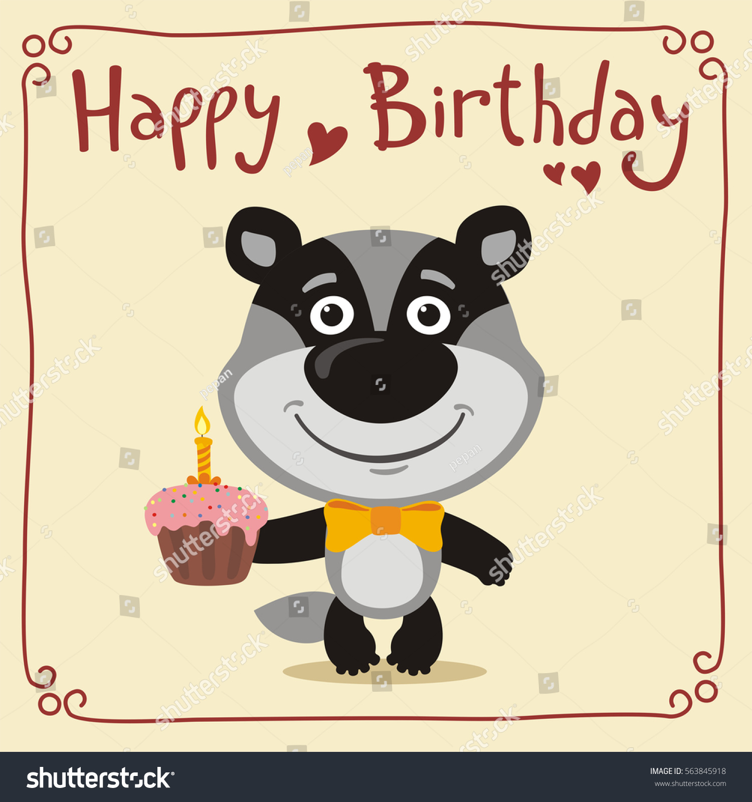 Happy Birthday Funny Badger Birthday Cake Stock Vector