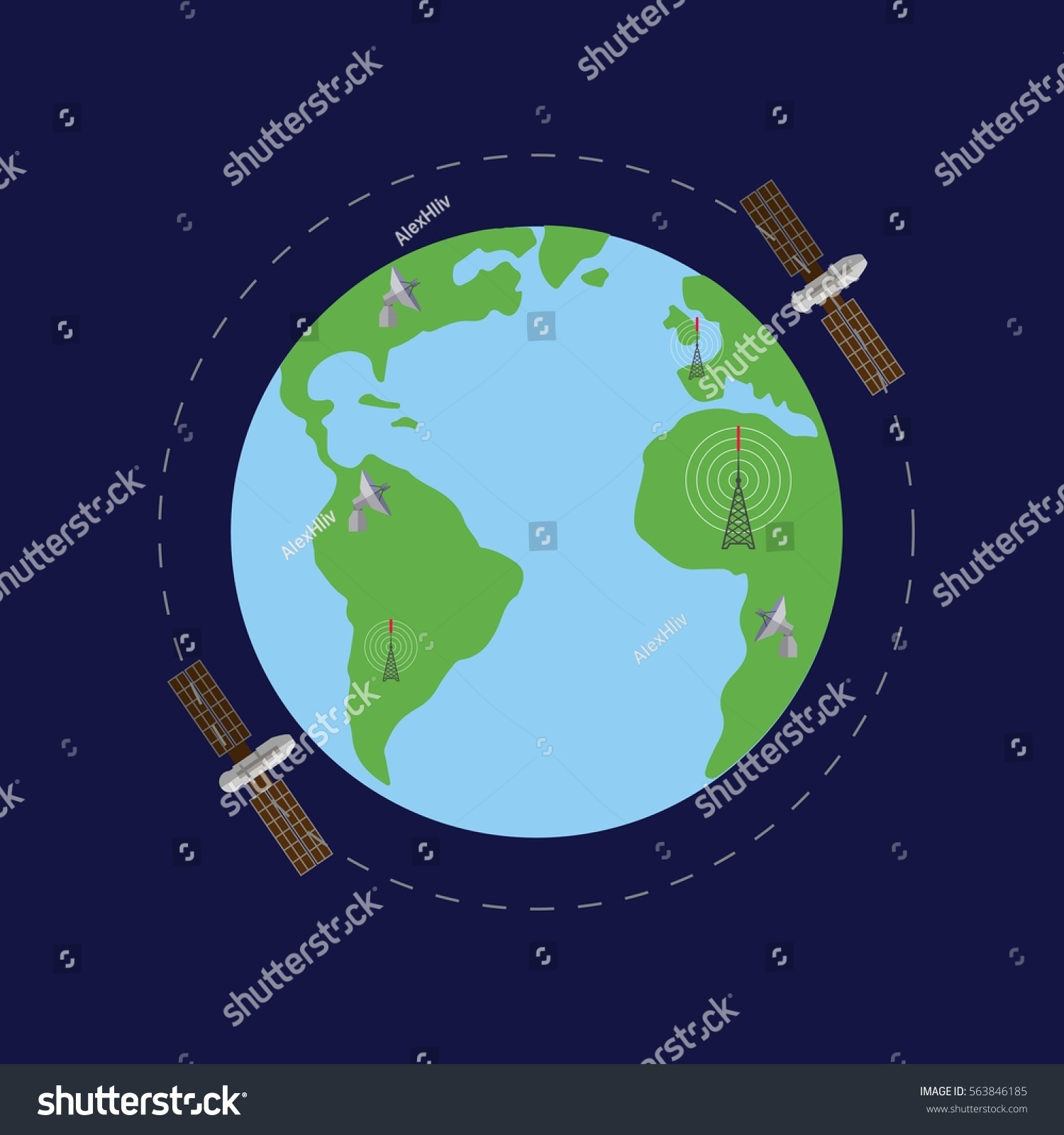 World Map Satellites Radio Day Concept Stock Vector - Satellites map