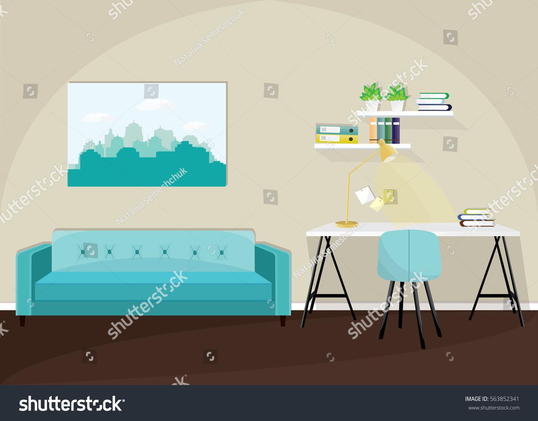 Modern Colorful Living Room Interior Sofa Stock Vector