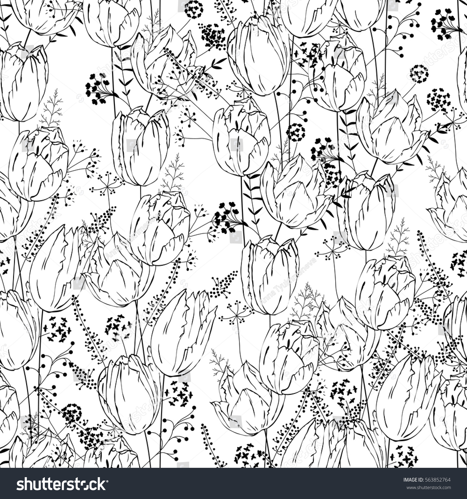Seamless Pretty Pattern Stylized Flowers Herbs Stock Vector Royalty