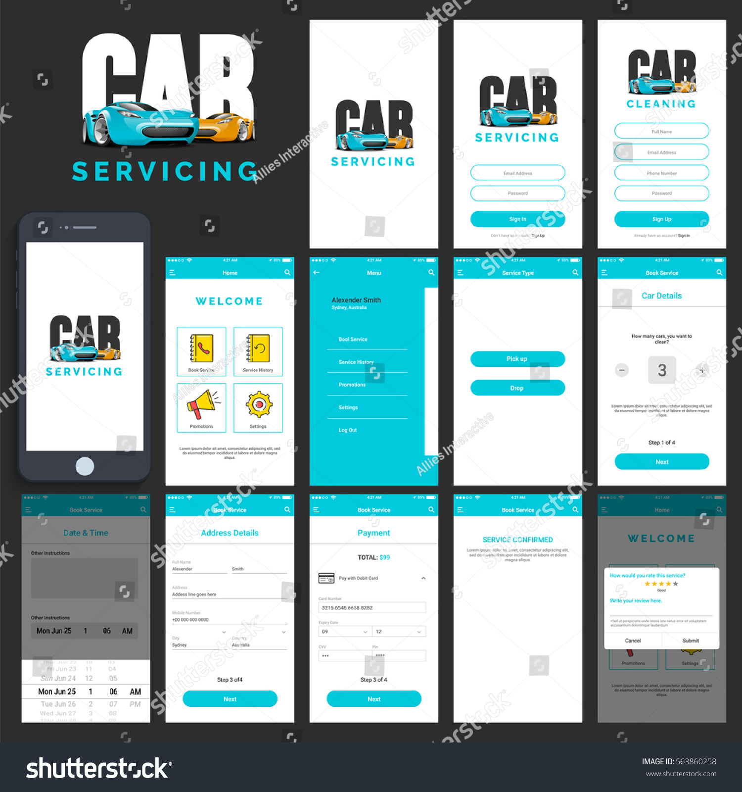 Home App Design: Car Servicing Mobile App Ui Ux Stock Vector 563860258