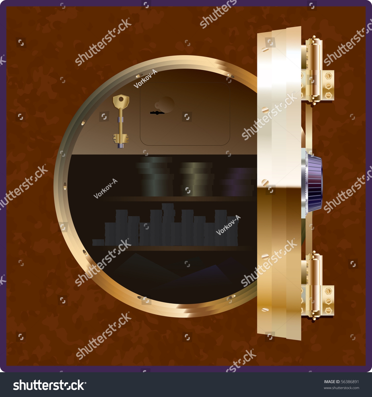 Safe Square Form Open Round Door Stock Vector (Royalty Free