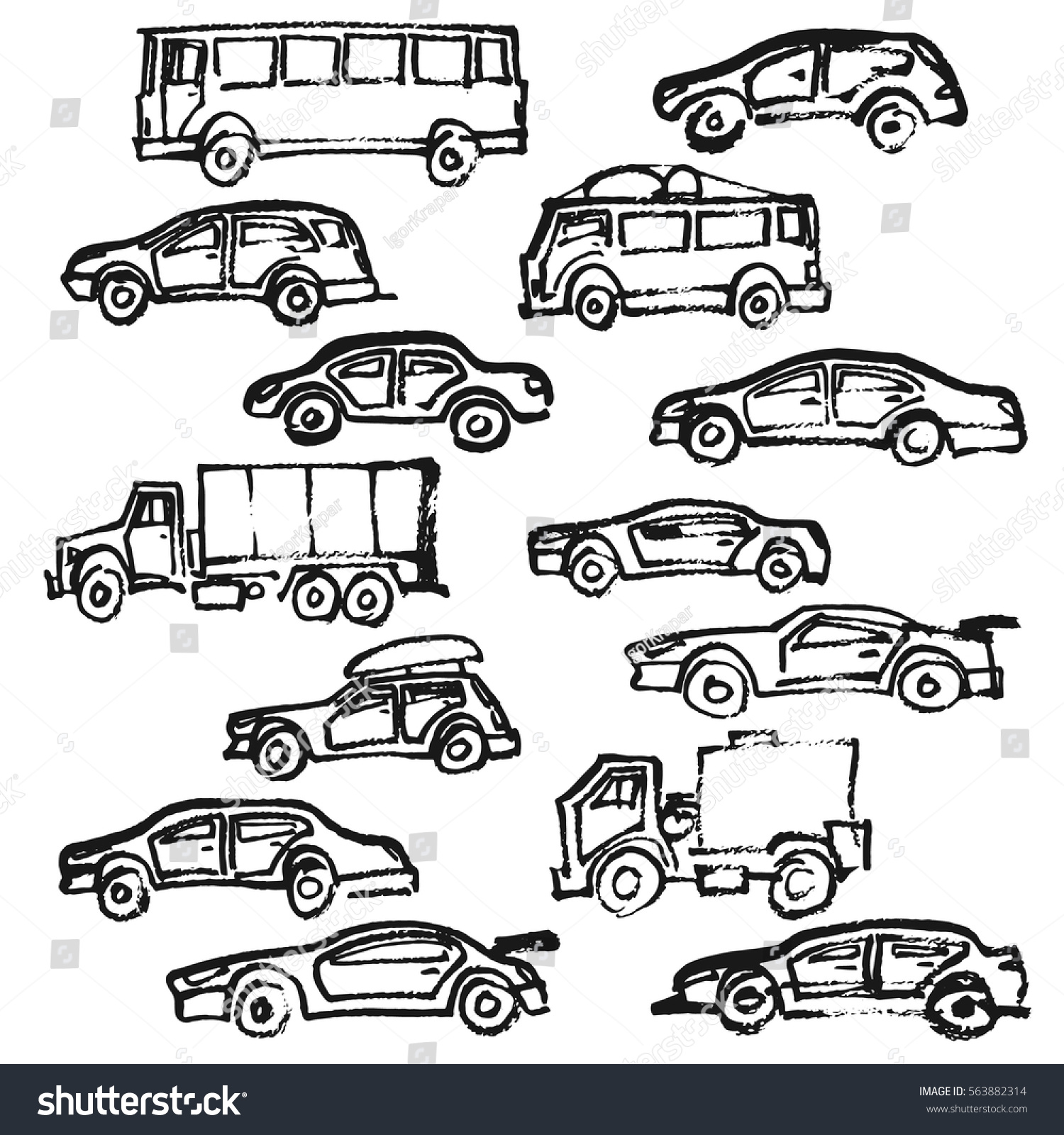 Cars Hand Drawing Set Vehicle Automobile Stock Vector 563882314 ...