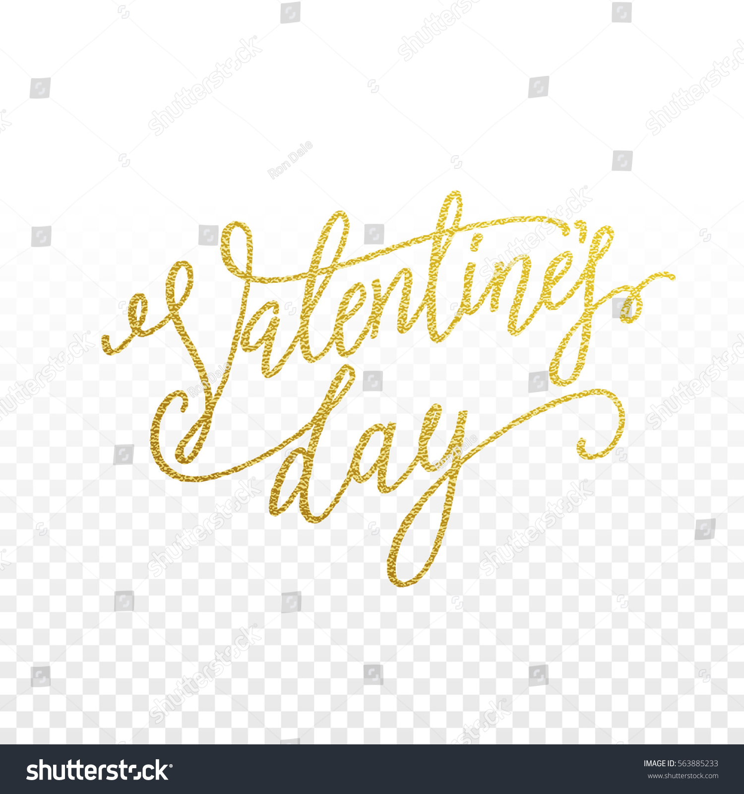 Gold valentine day calligraphy text greeting stock vector