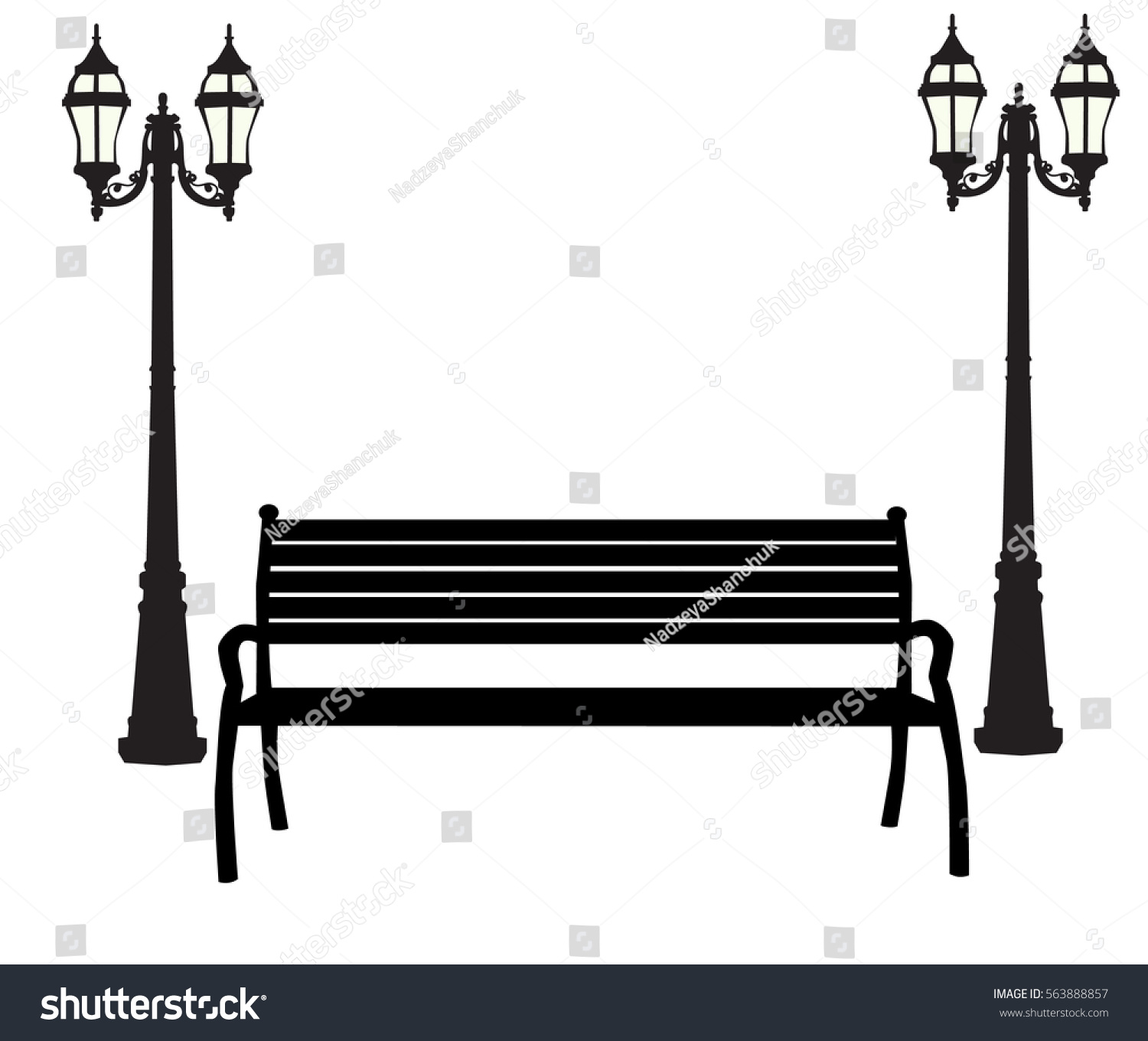 Vector Silhouette Bench Lanterns Stock Vector (2018) 563888857 ... for Bench Silhouette Side  54lyp