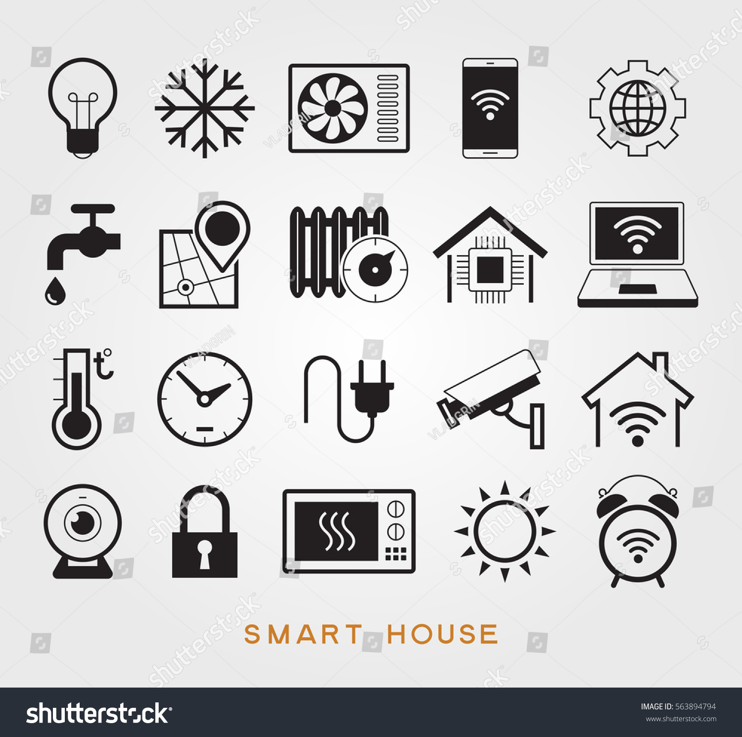 Set smart house symbols vector icons stock vector 563894794 set smart house symbols vector icons for home automation to control a smart home buycottarizona Image collections