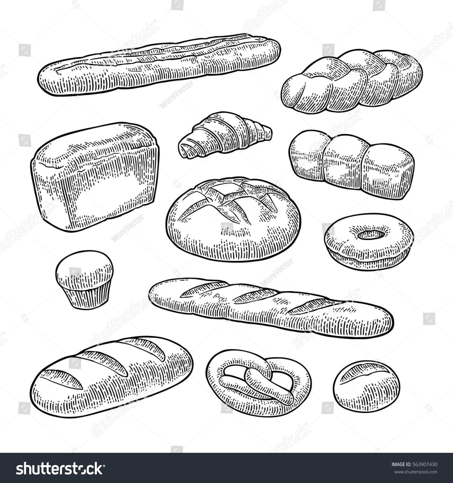 bread doodle set bread isolated on white background stock vector 9358