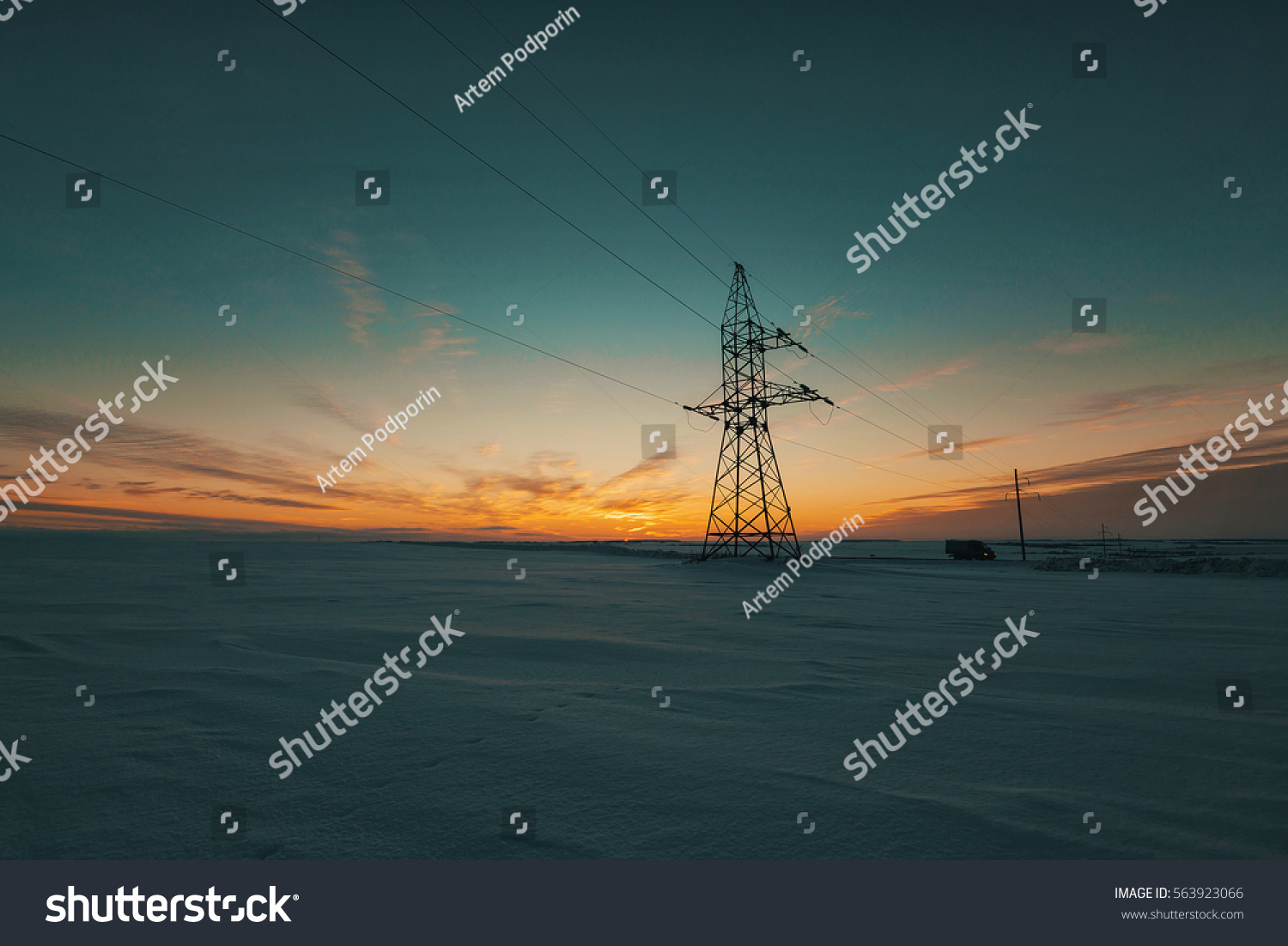 Winter Field Sunset Electric Pole Car Stock Photo (Edit Now