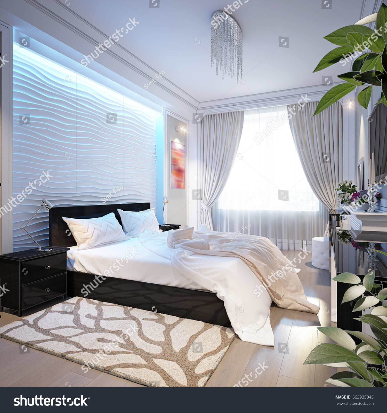 Modern Bedroom White Gypsum 3 D Panels Stock Illustration 563935045 ...