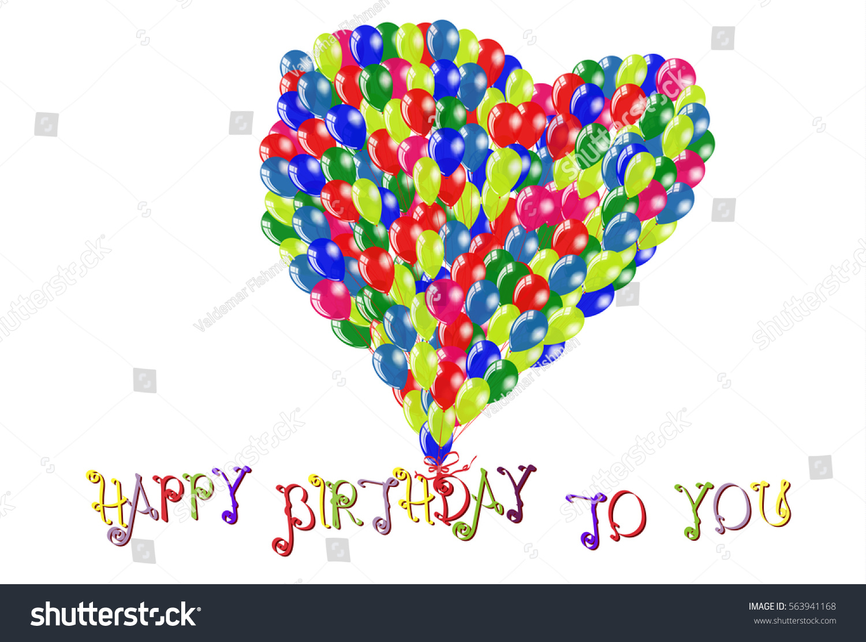 Happy Birthday You Inscriptions Love Symbol Stock Vector Royalty