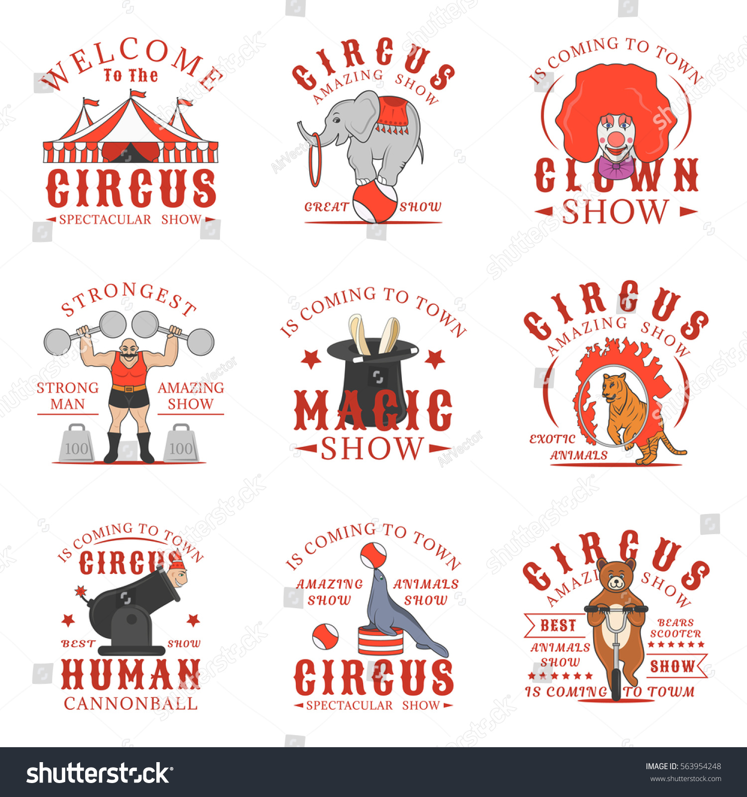 set circus logos emblems labels badges stock vector 563954248