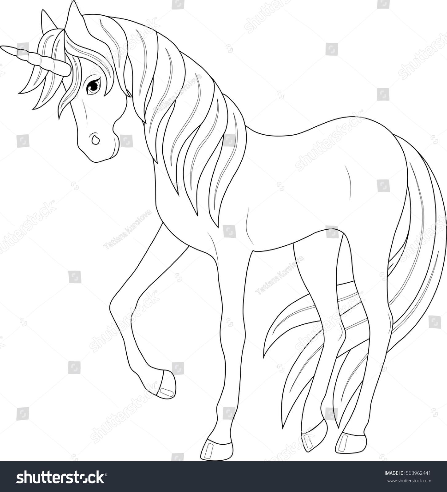 cute fairy unicorn coloring page stock vector 563962441 shutterstock