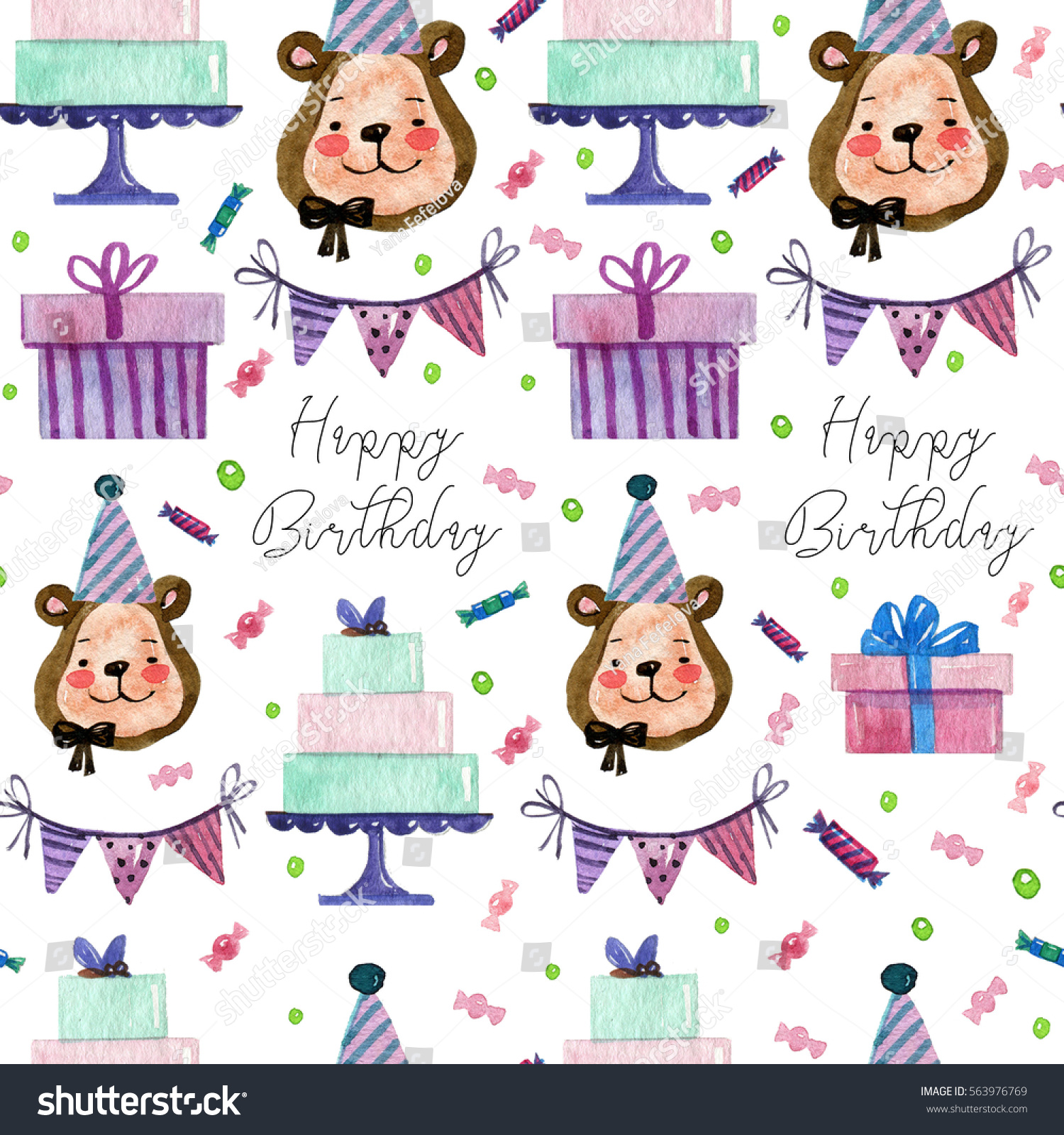 Watercolor Hand Drawing Pattern Birthday Elements Stock Illustration