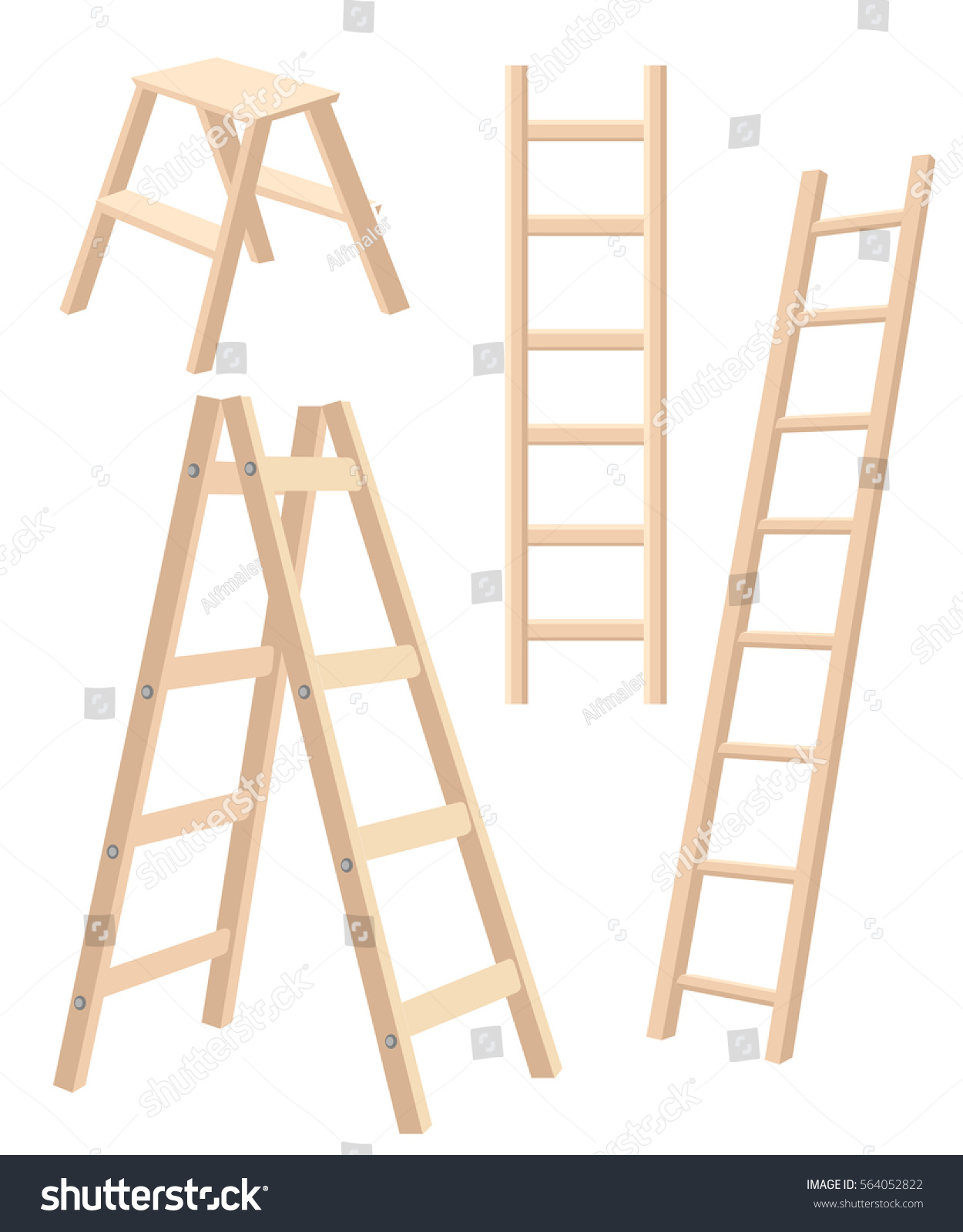 Vector Illustration Aluminum Step Folding Ladder Stock Vector Royalty Free 564052822