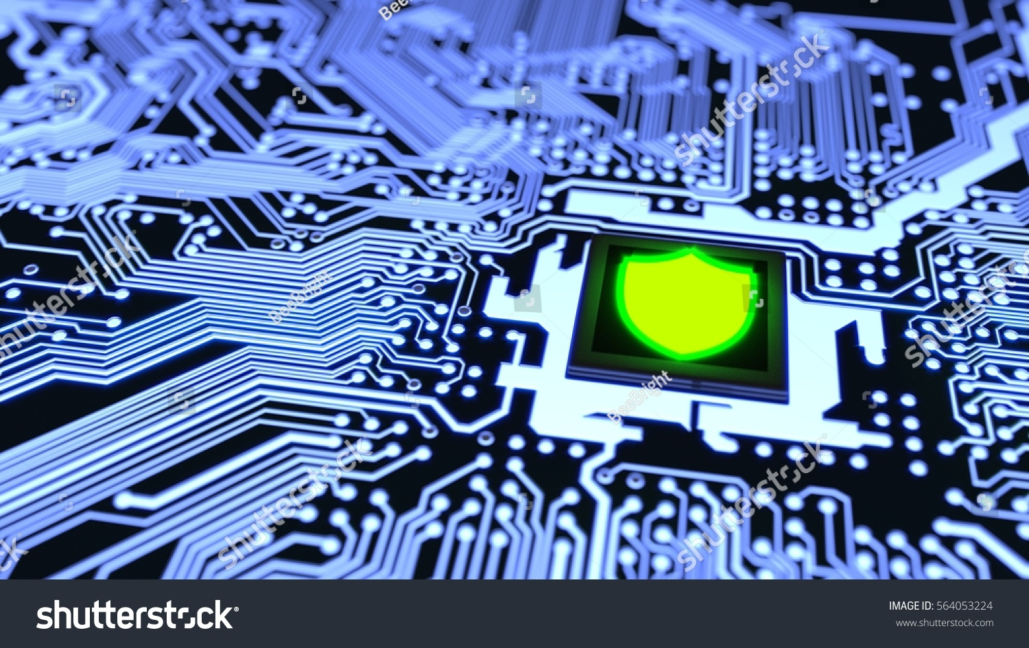 Blue Circuit Board Closeup Connected Cpu Stock Illustration Boards With Clock Hands Royalty Free Image To A Glowing Green Shield Symbol On Top