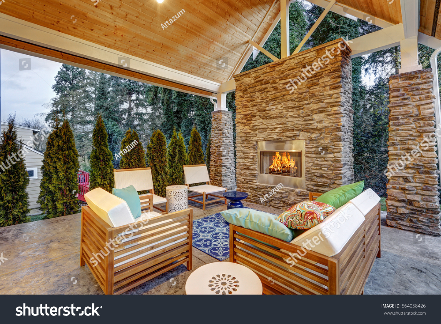Chic Covered Back Patio Built Gas Buildings Landmarks Parks
