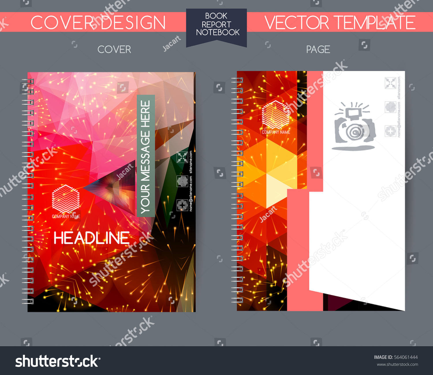 Book Cover Design Isolated Over Colorful Background : Cover page annual report vector design stock
