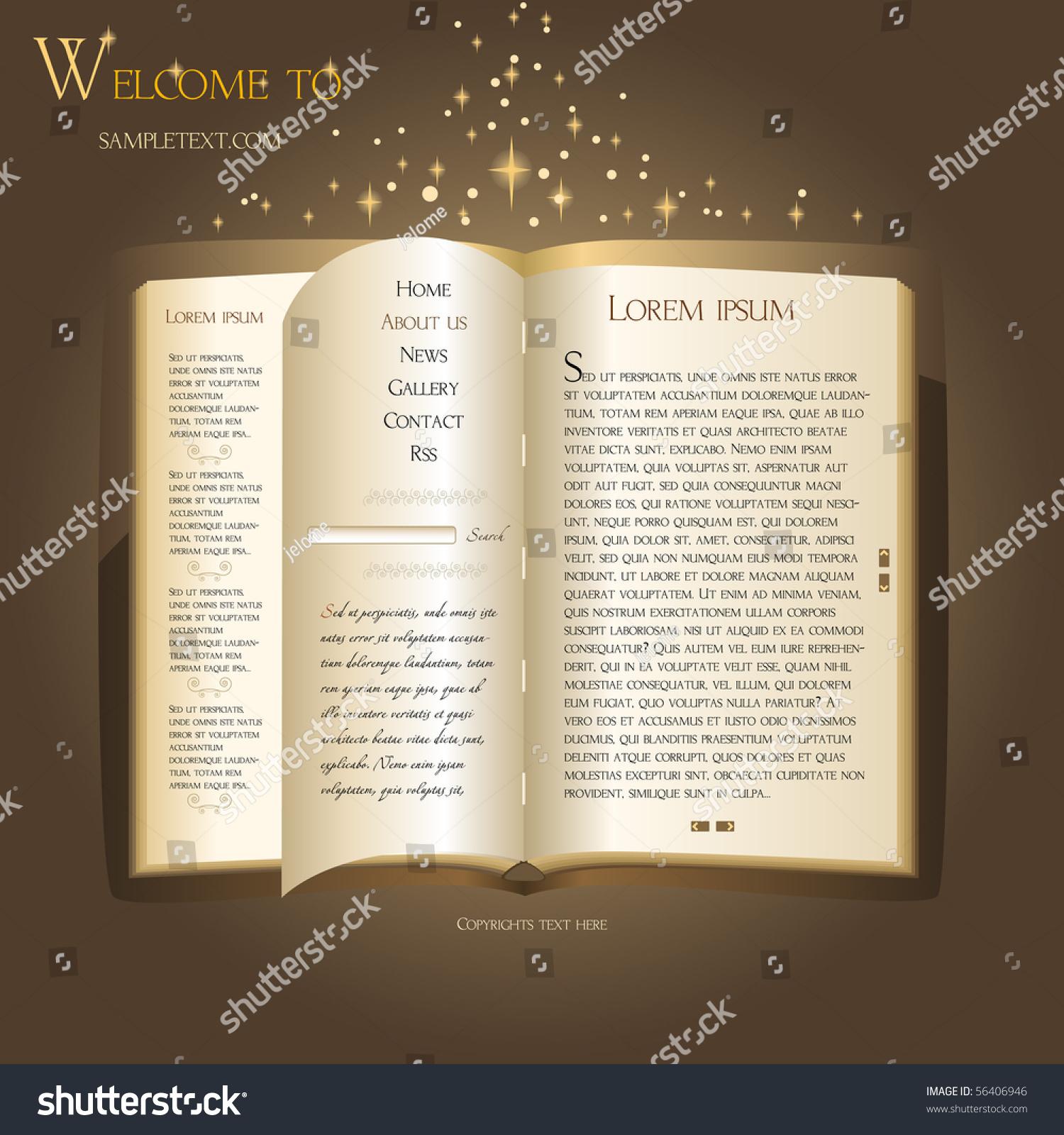 Website Template Antique Book Vector 56406946 Shutterstock – Contact Book Template