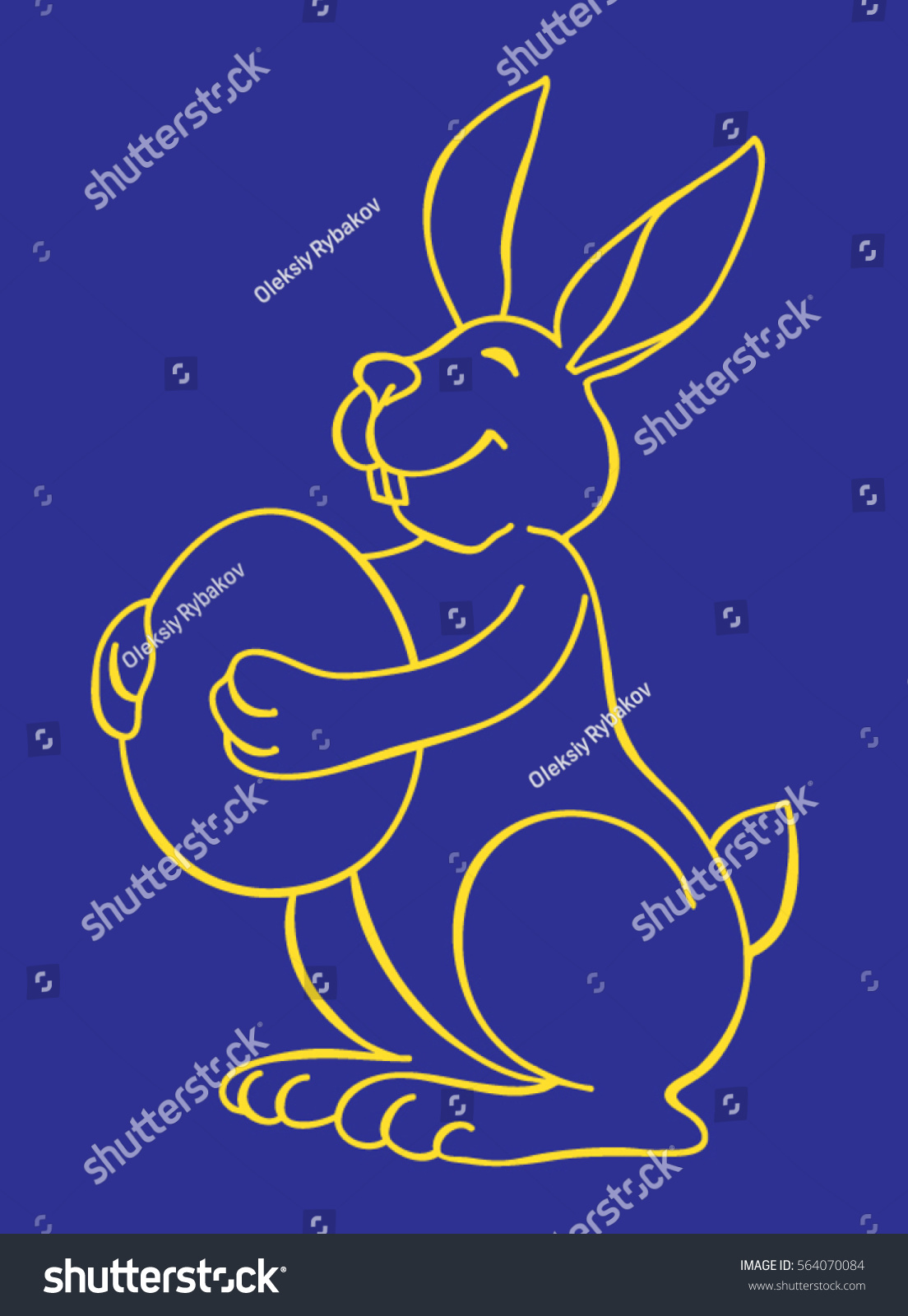 Line Drawing Easter : Line drawing rabbit holding big easter stock vector
