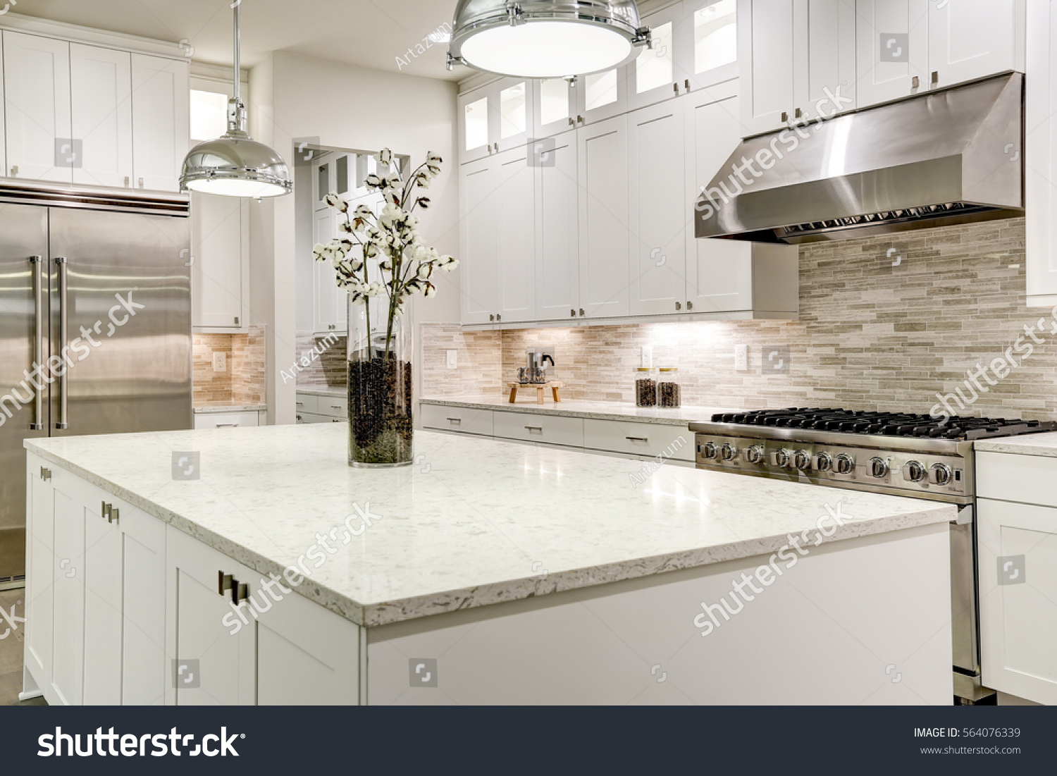 Gourmet kitchen features white shaker cabinets stock photo for Gourmet kitchen