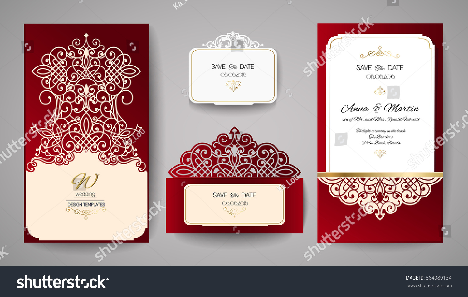 Wedding Invitation Greeting Card Gold Floral Stock Vector 564089134 ...