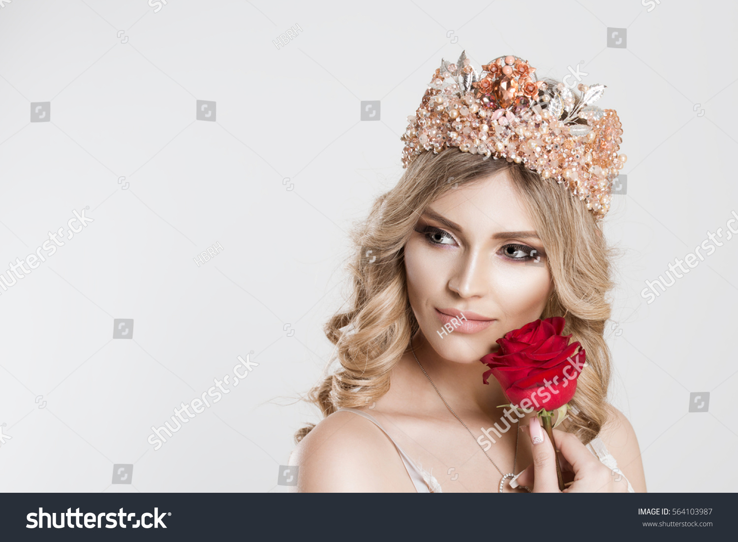 Beauty Queen Bride Bright Pink Crown Stock Photo 564103987