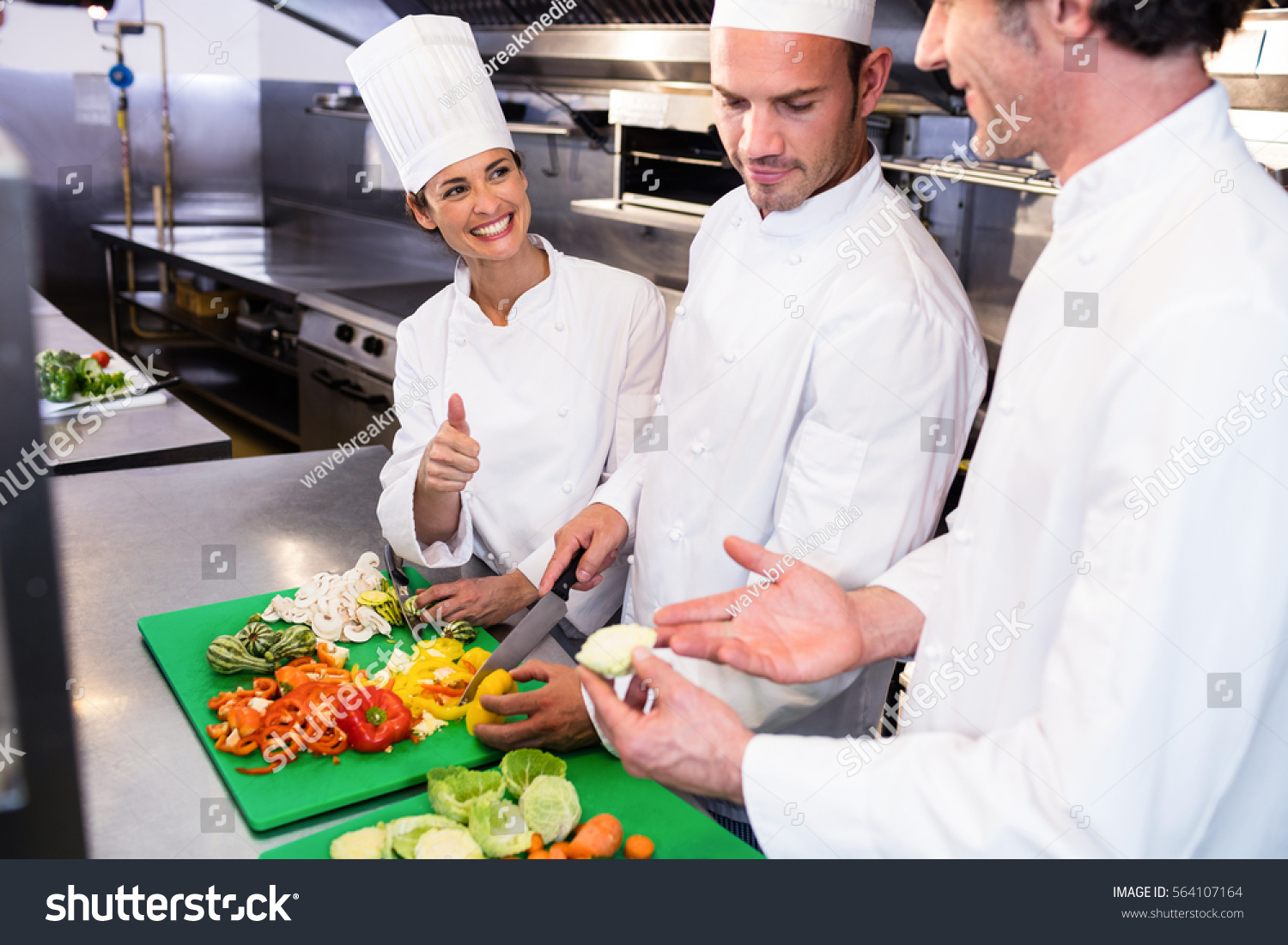 Head Chef Teaching His Colleagues How Stock Photo 564107164 ...