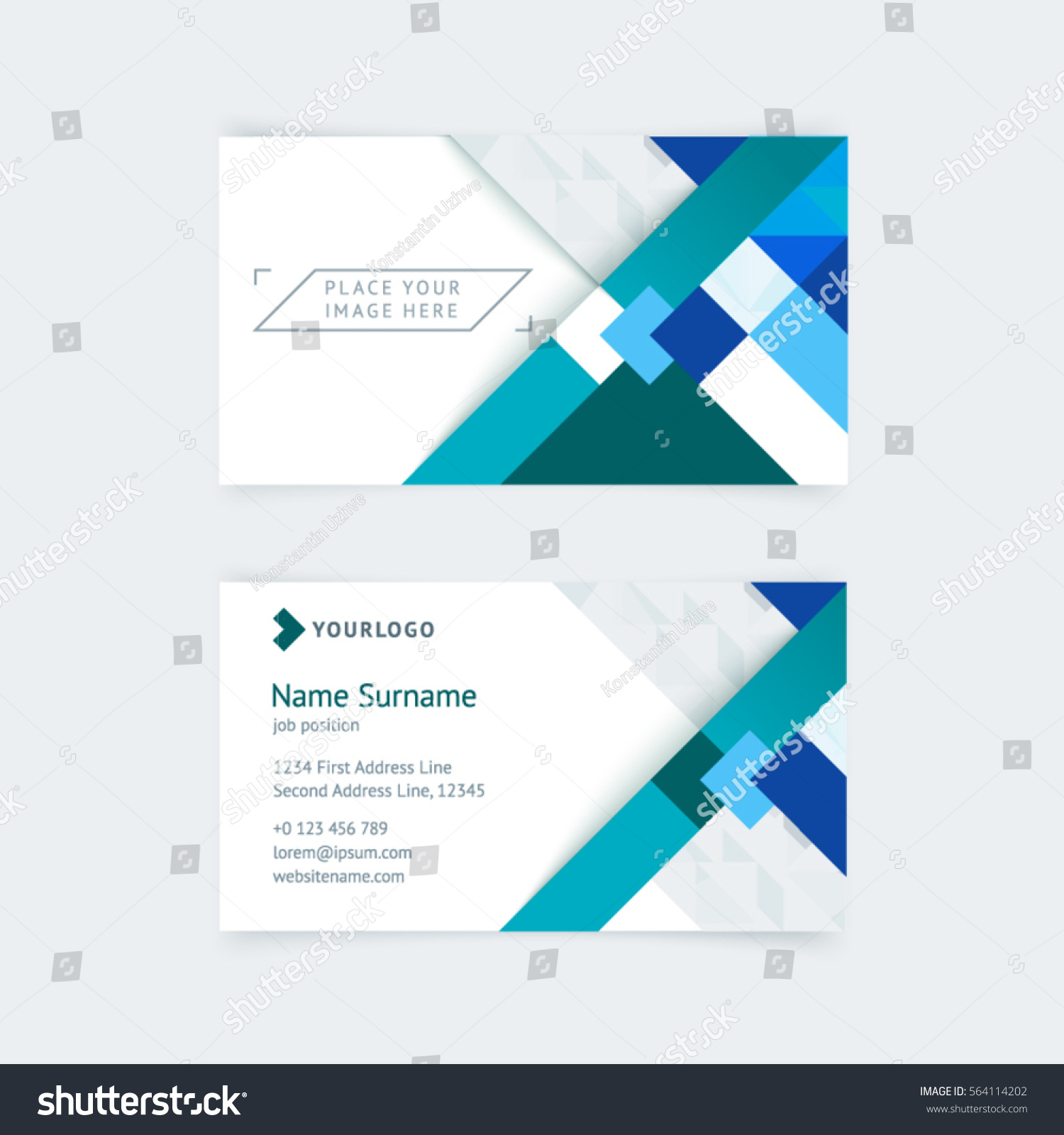 vector creative business card template blue stock vector