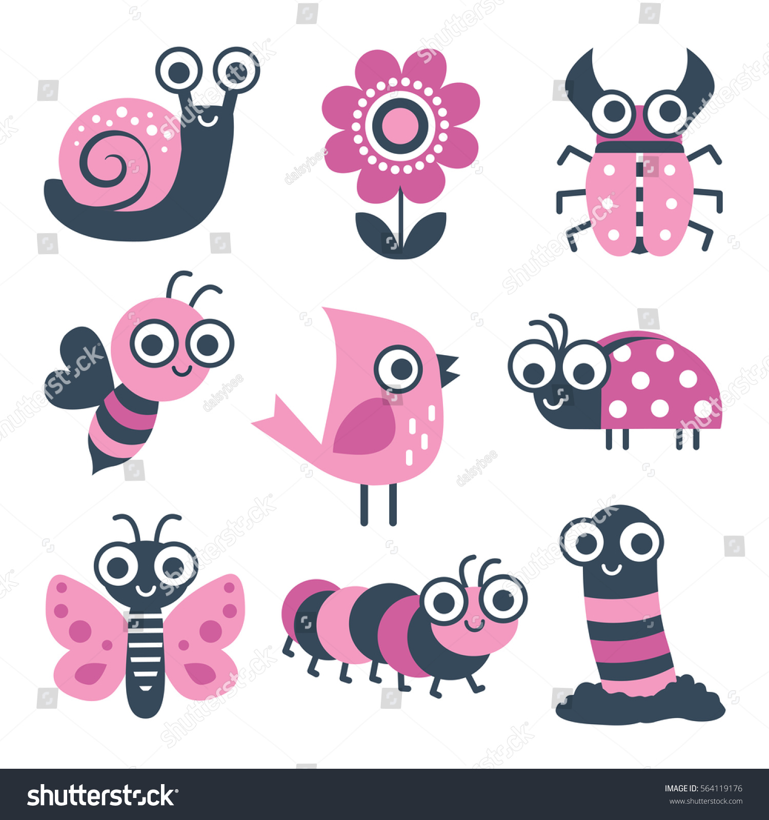 cute collection vector cartoon bugs insects stock vector 564119176