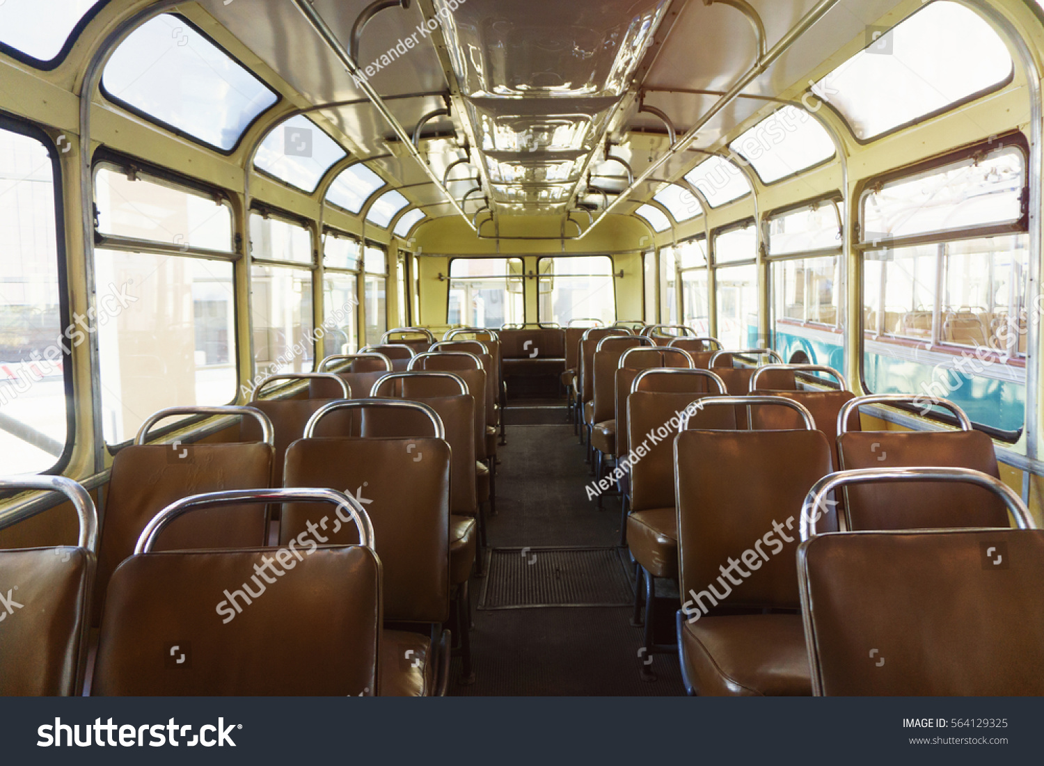Antique Bus Seats : Old time bus cabin leather stock photo