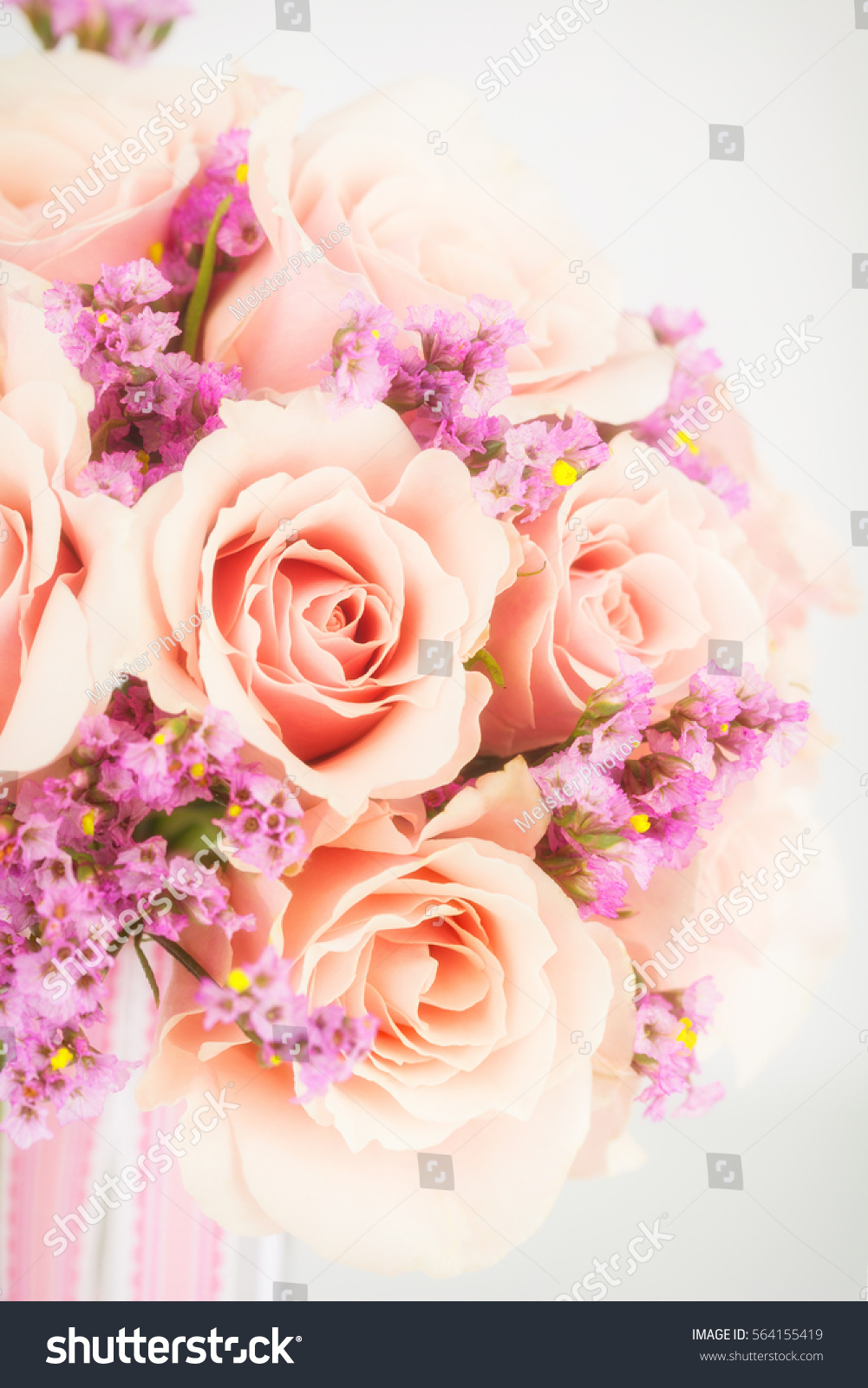 Close View Wedding Bouquet Pink Statice Stock Photo 564155419 ...