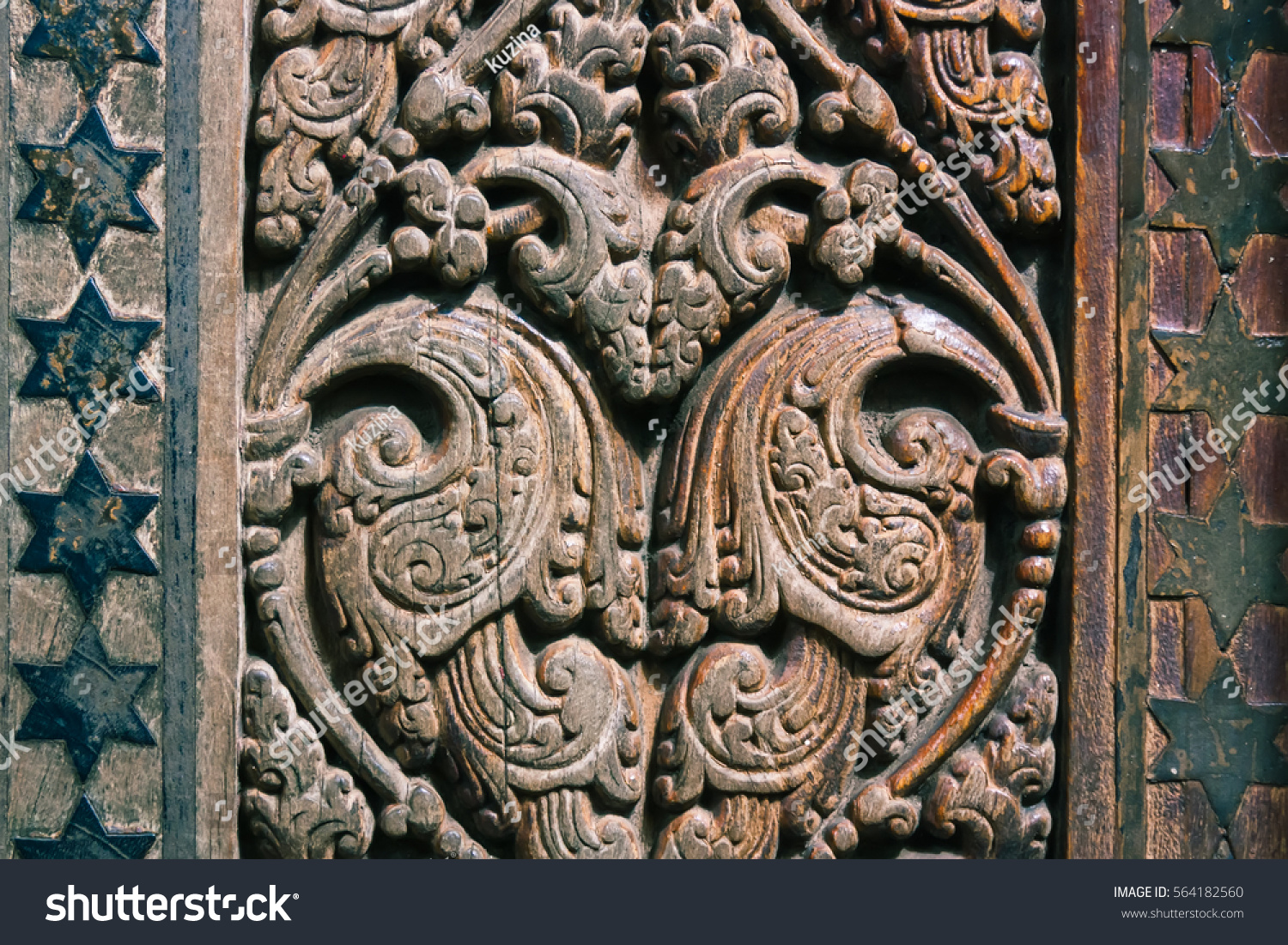 Beautiful wood carving on ancient door stock photo edit now