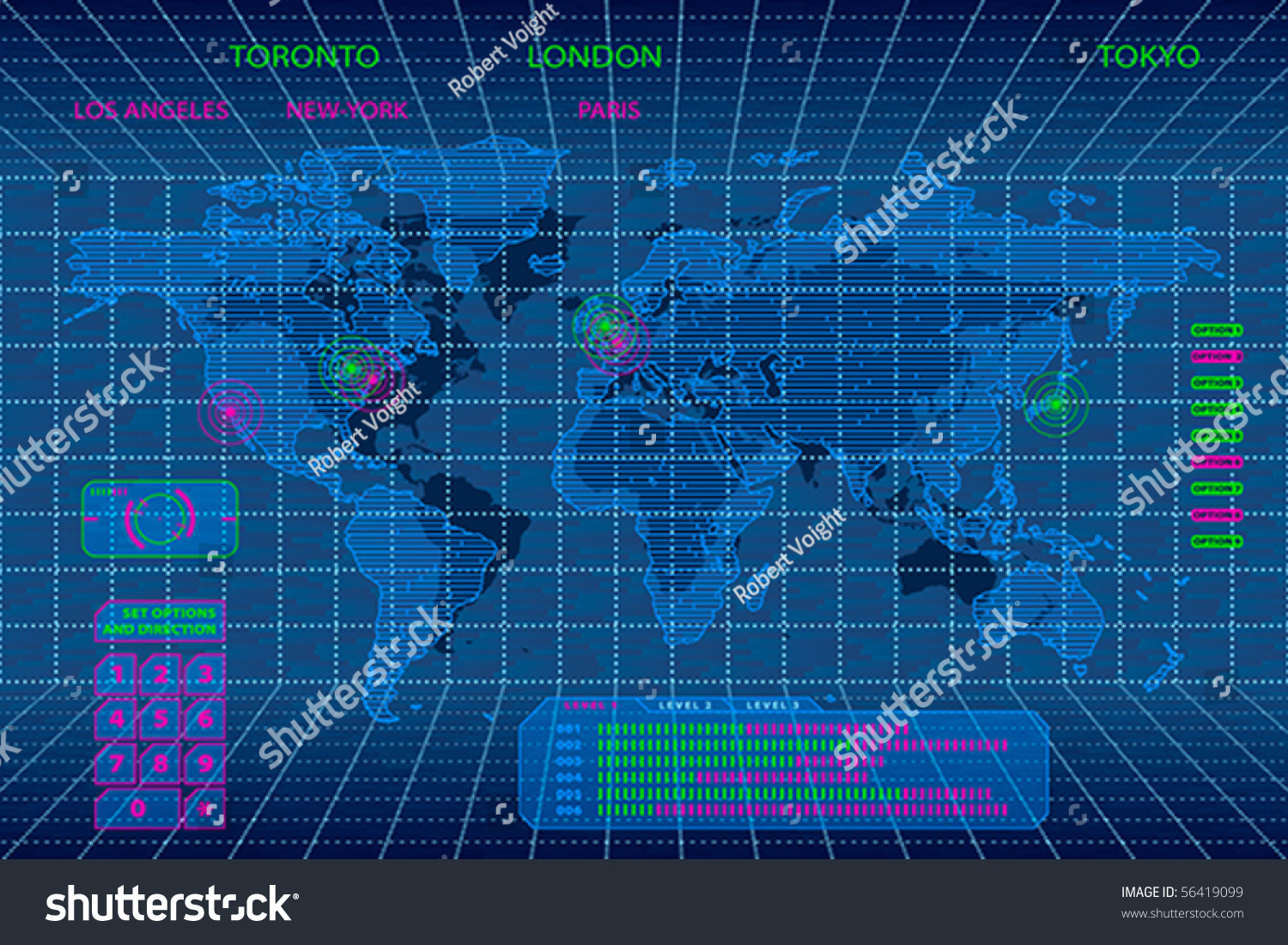 Interactive 3d digital world map concept stock vector 56419099 interactive 3d digital world map concept sciox Images
