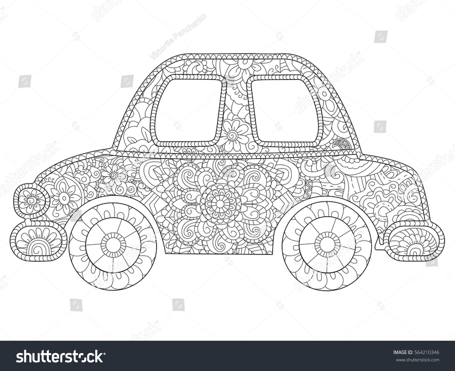 Baby Toy Car Animal Coloring Book For Adults Vector Illustration Anti Stress