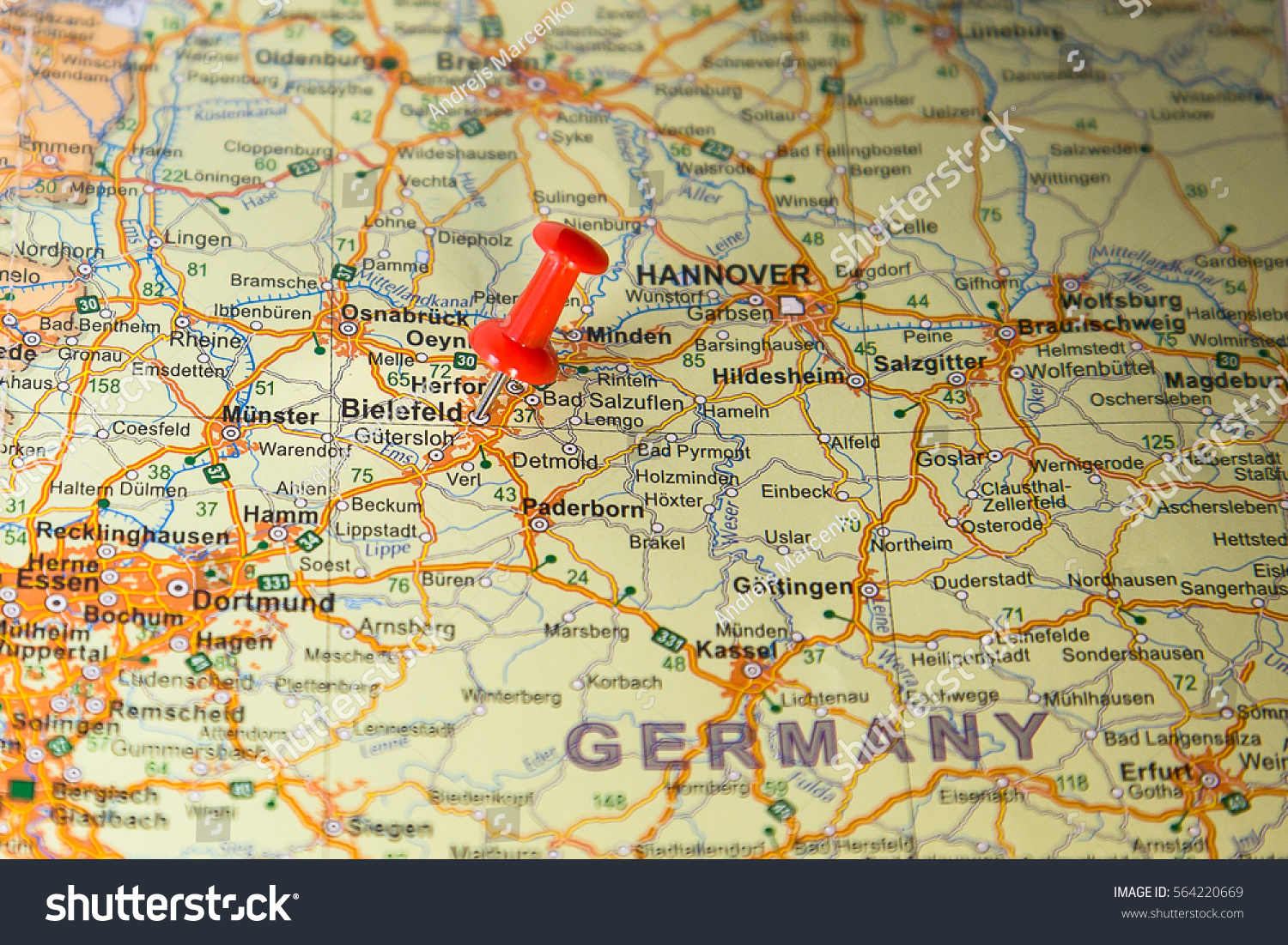 Bielefeld Pinned On Map Germany Stock Photo Royalty Free 564220669