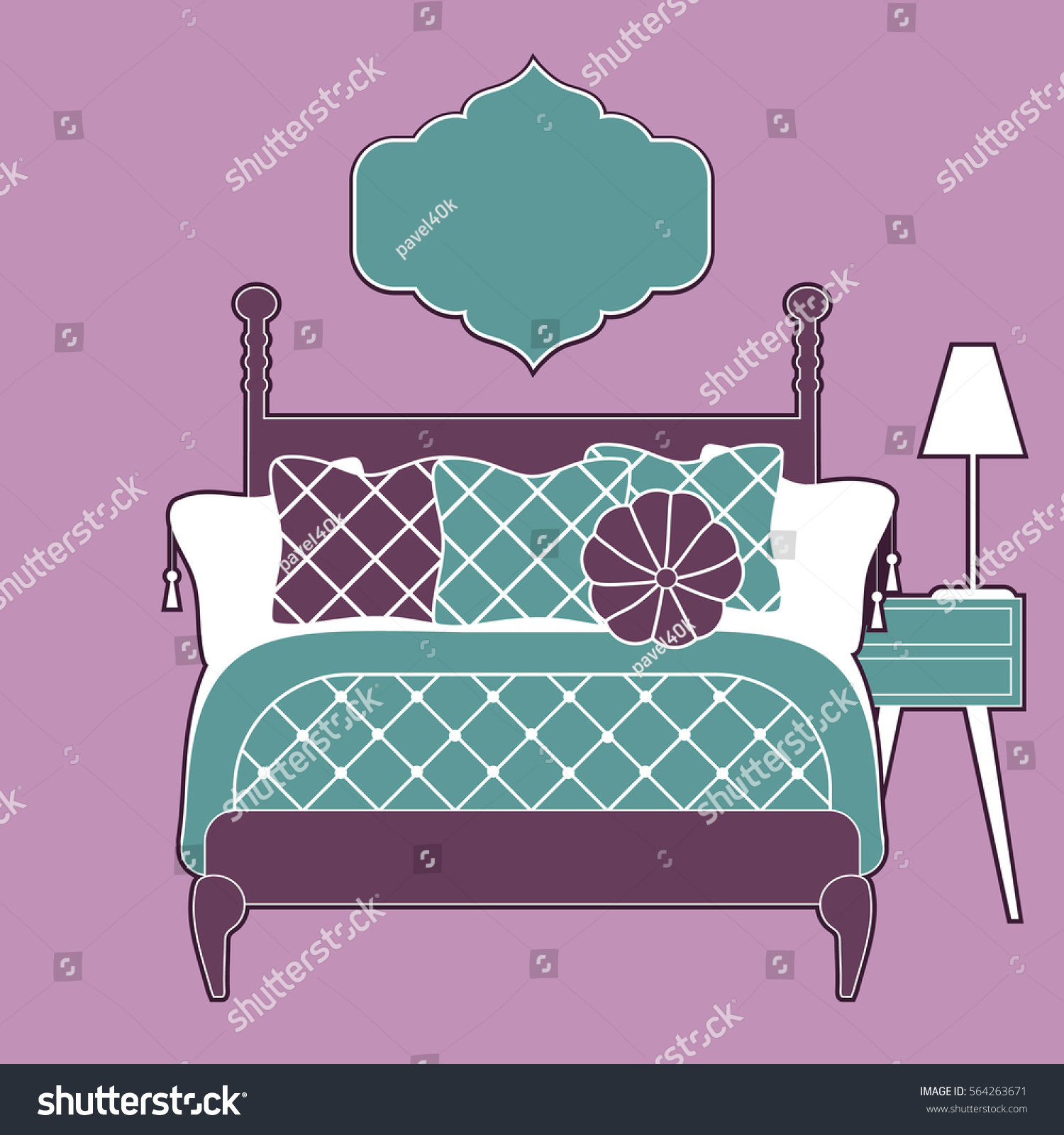 home and bedroom decoration style vector background template