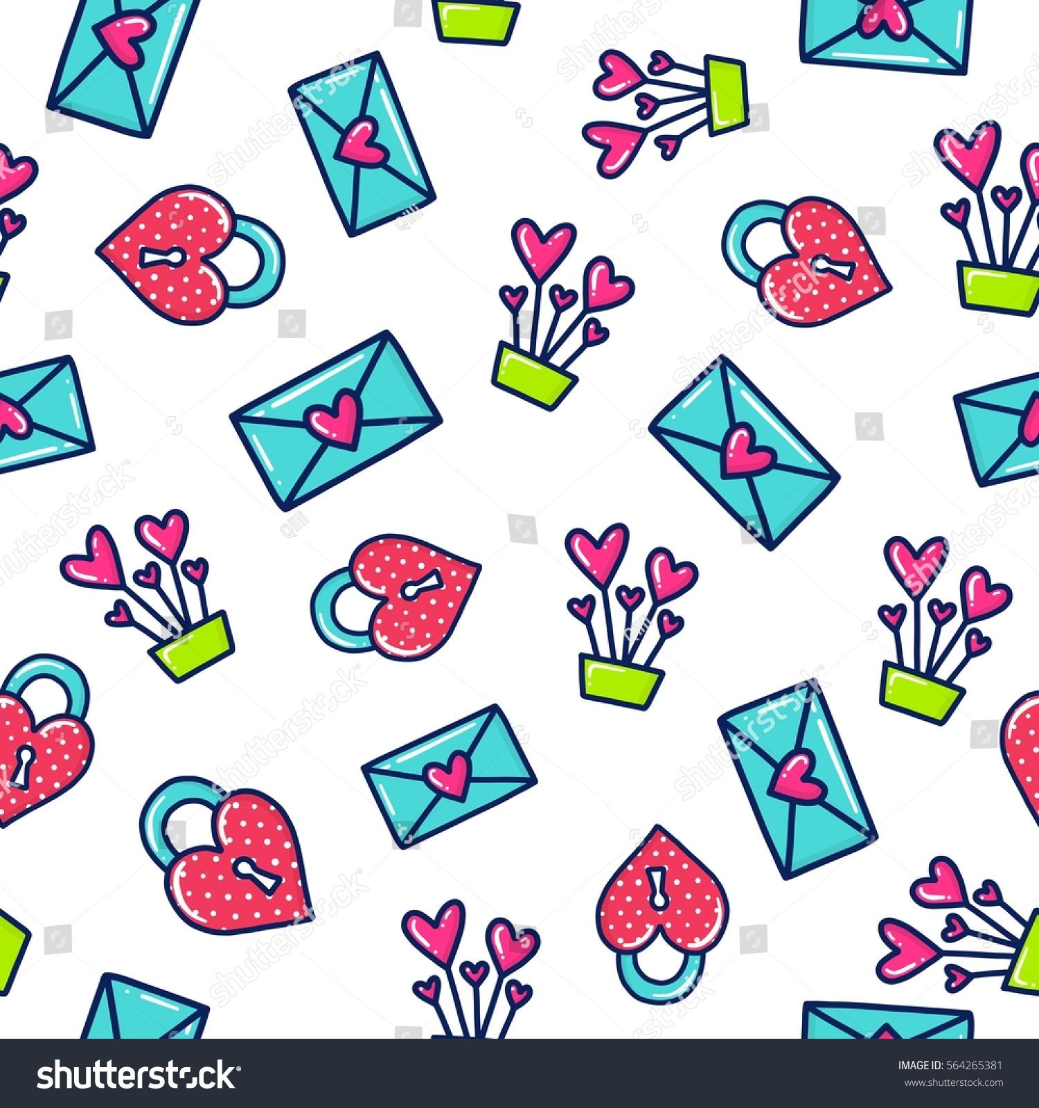 Shirt design envelope - Doodles Cute Seamless Pattern Color Vector Background Illustration With Hearts And Envelope Design