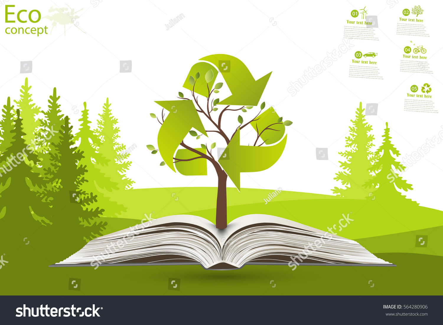 Recycling Symbol On Tree Green Paper Stock Vector Royalty Free