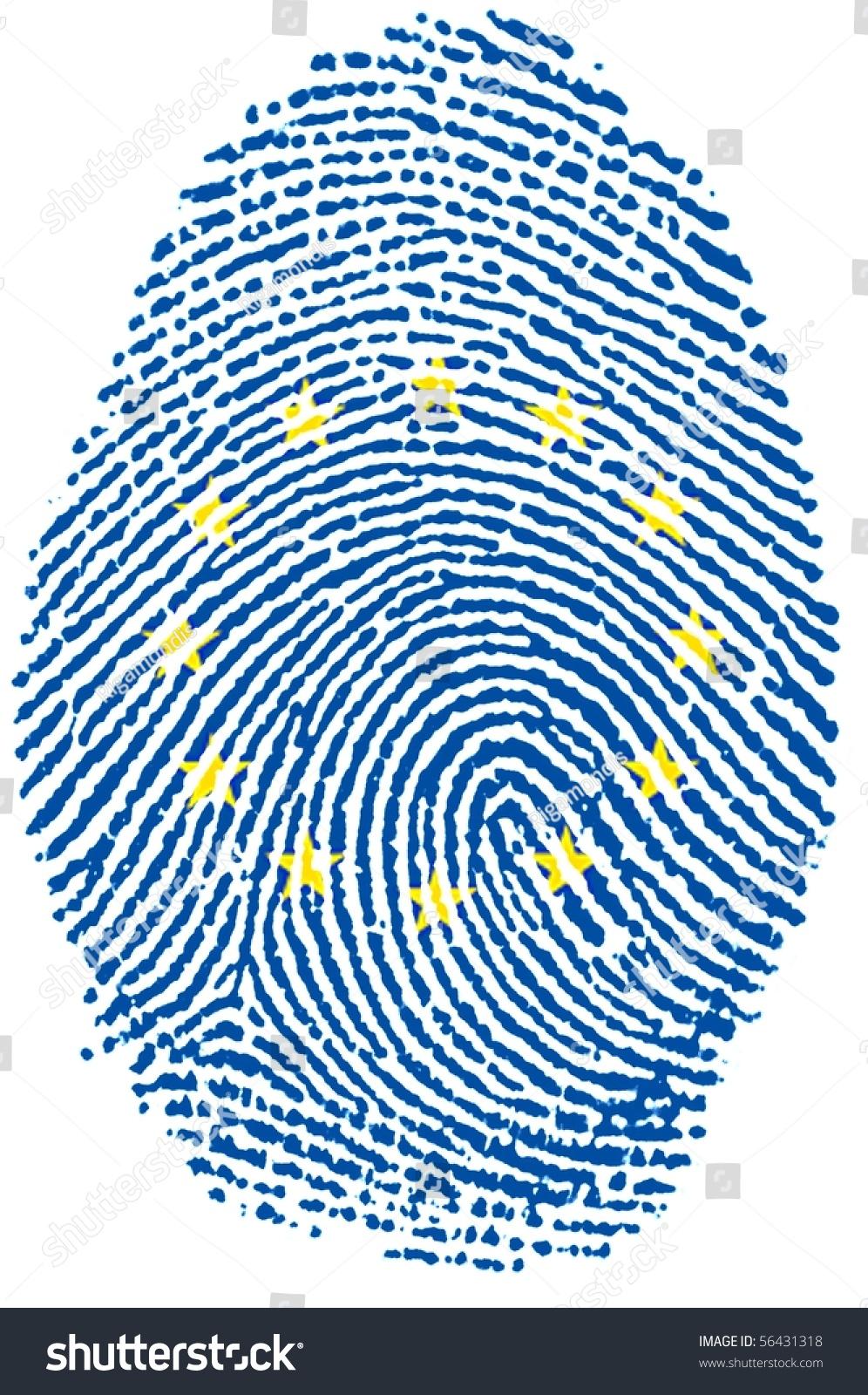 Fingerprint Stamp On White Paper For European Flag