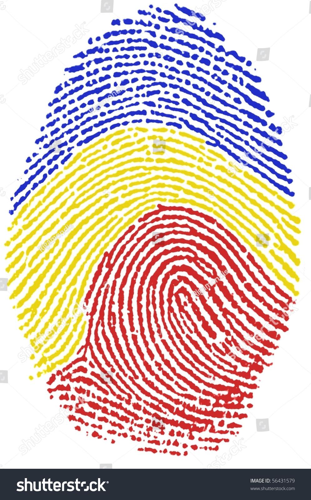 Fingerprint Stamp On White Paper For Romanian Flag
