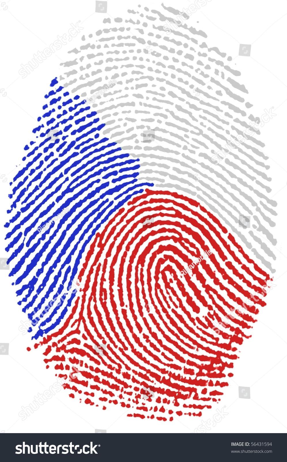 Fingerprint Stamp On White Paper For Czech Flag